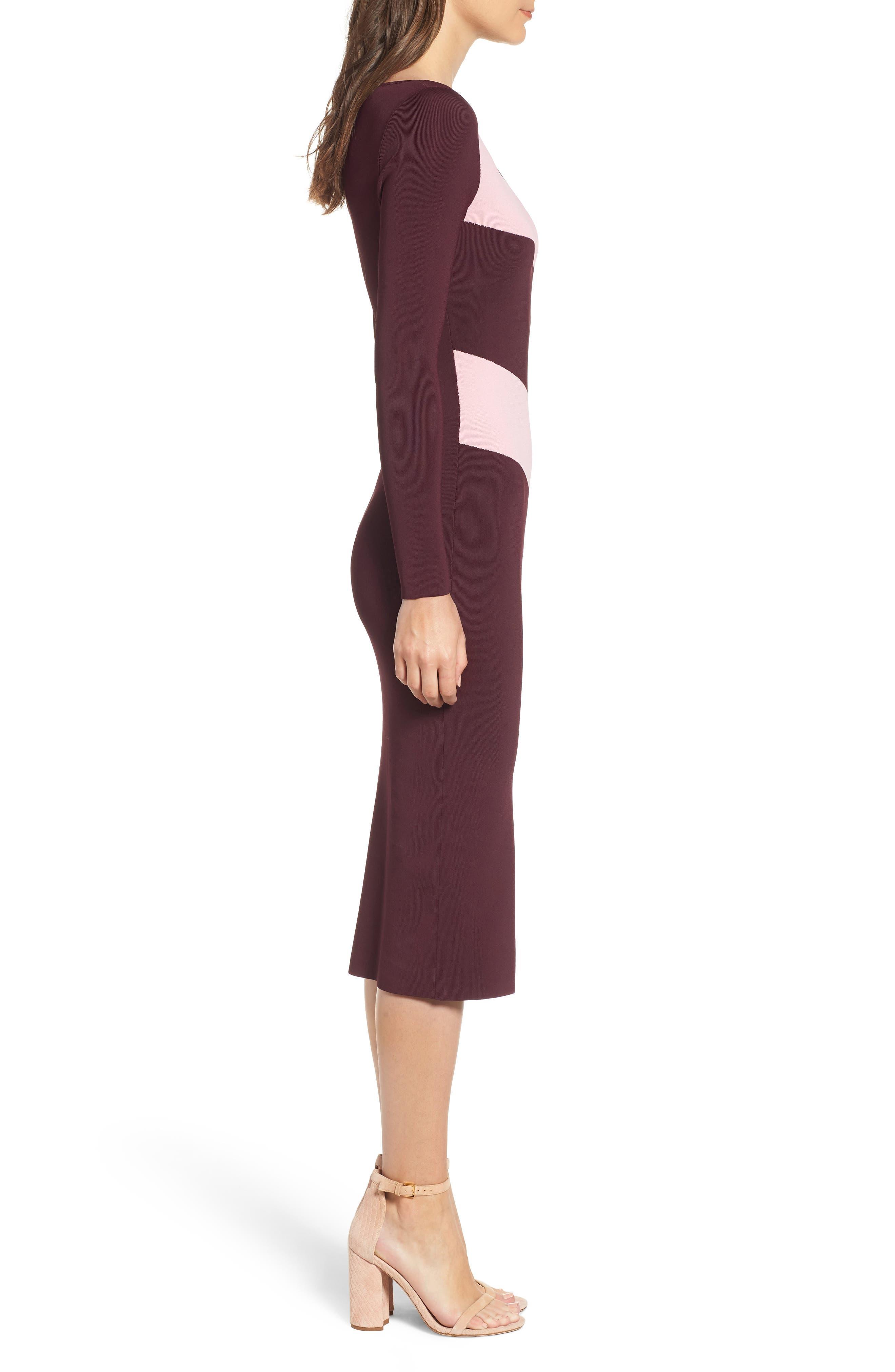 Bold Stripe Body-Con Dress,                             Alternate thumbnail 3, color,                             BURGUNDY STEM COMBO
