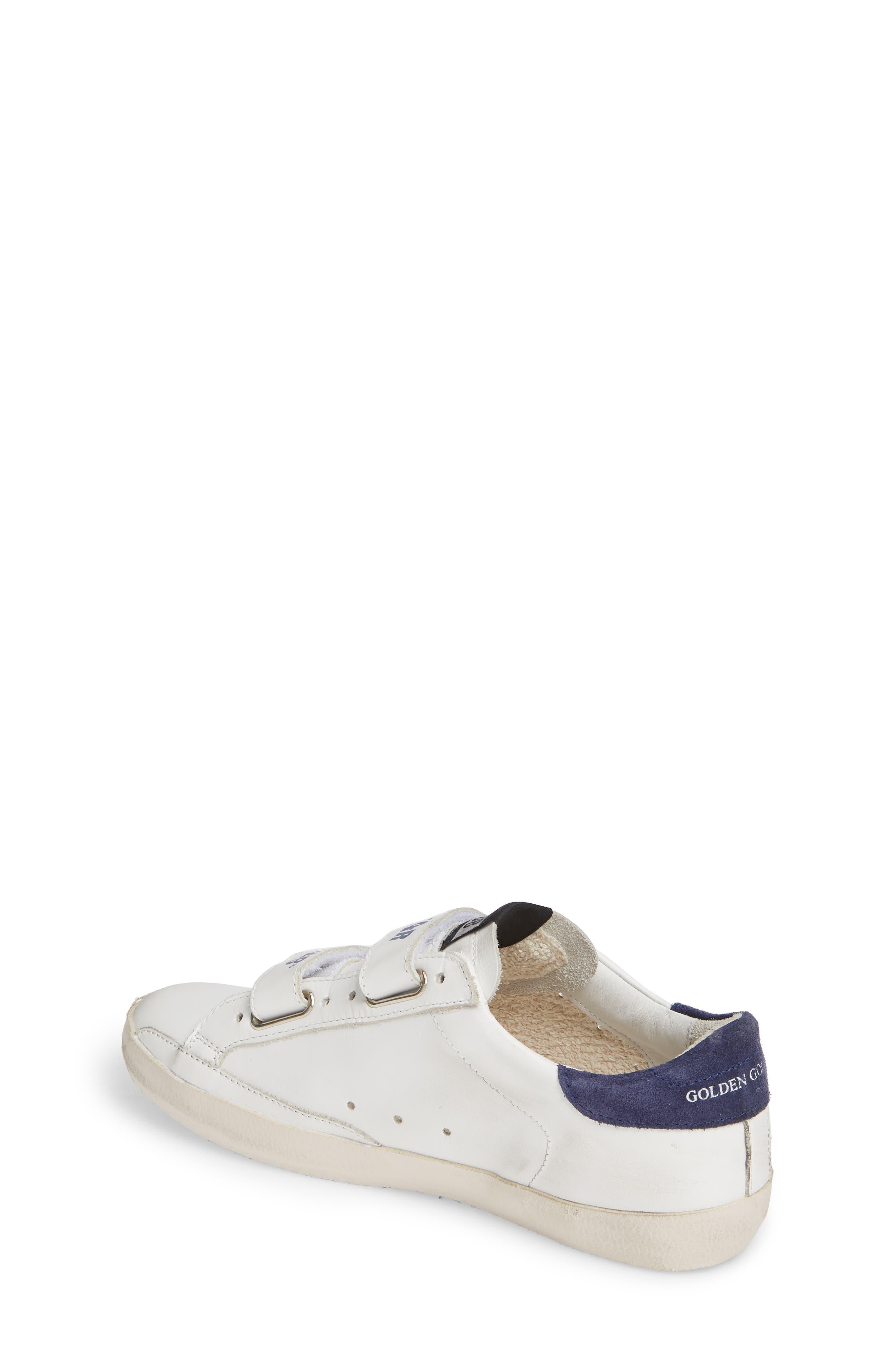 GOLDEN GOOSE,                             Glitter Old School Sneaker,                             Alternate thumbnail 2, color,                             WHITE LEATHER/ NAVY STAR