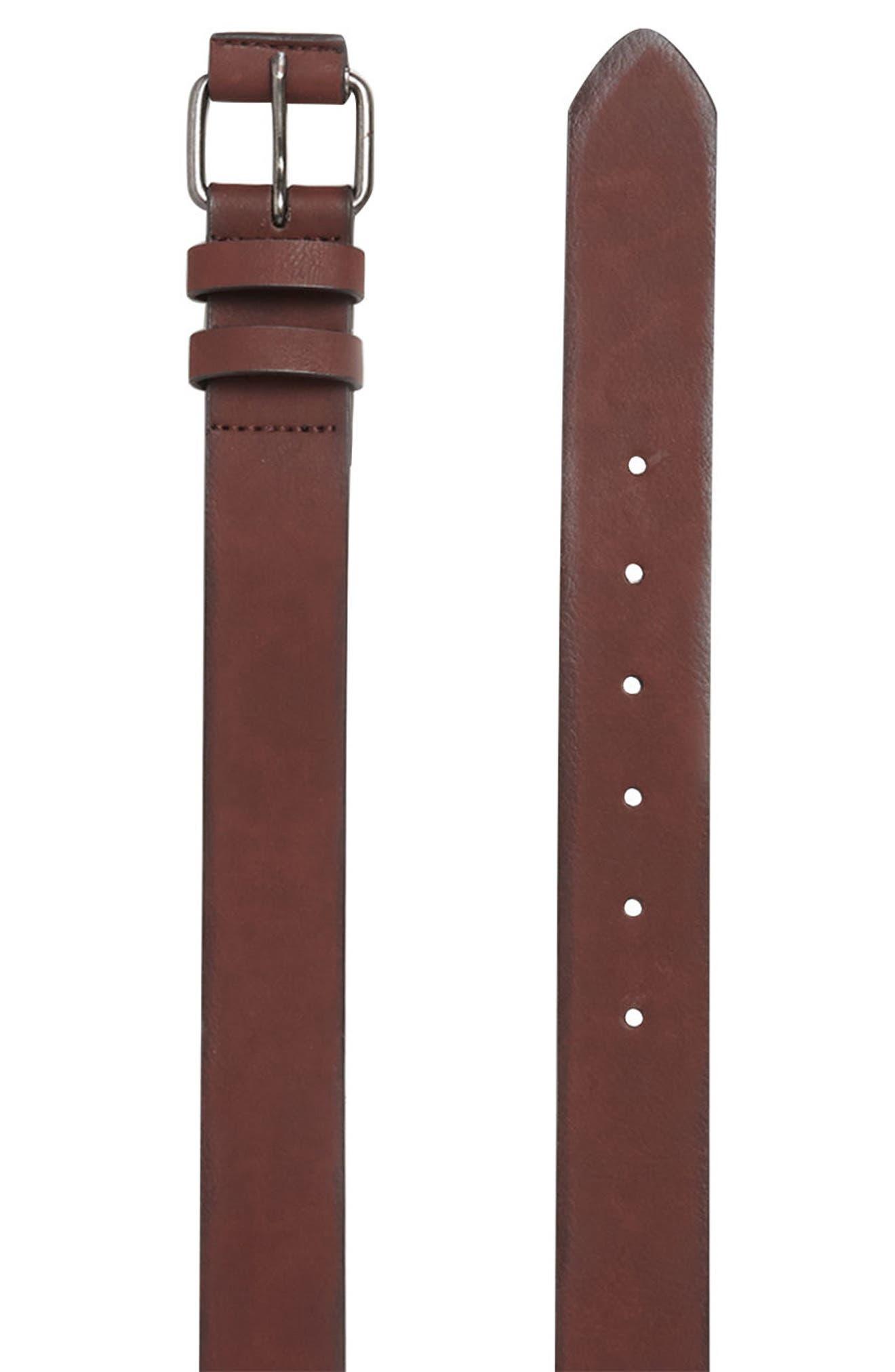 Faux Leather Belt,                             Alternate thumbnail 4, color,