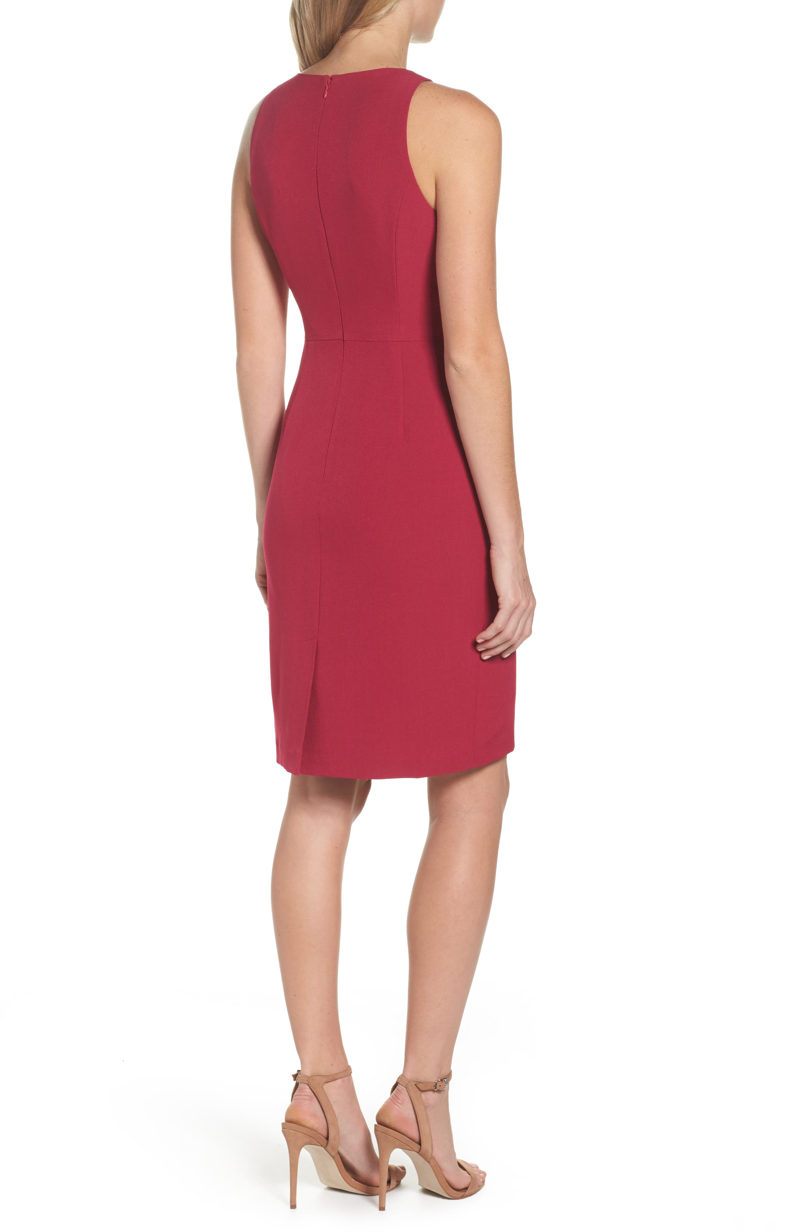 Stretch Crepe V-Neck Sheath,                             Alternate thumbnail 2, color,                             652