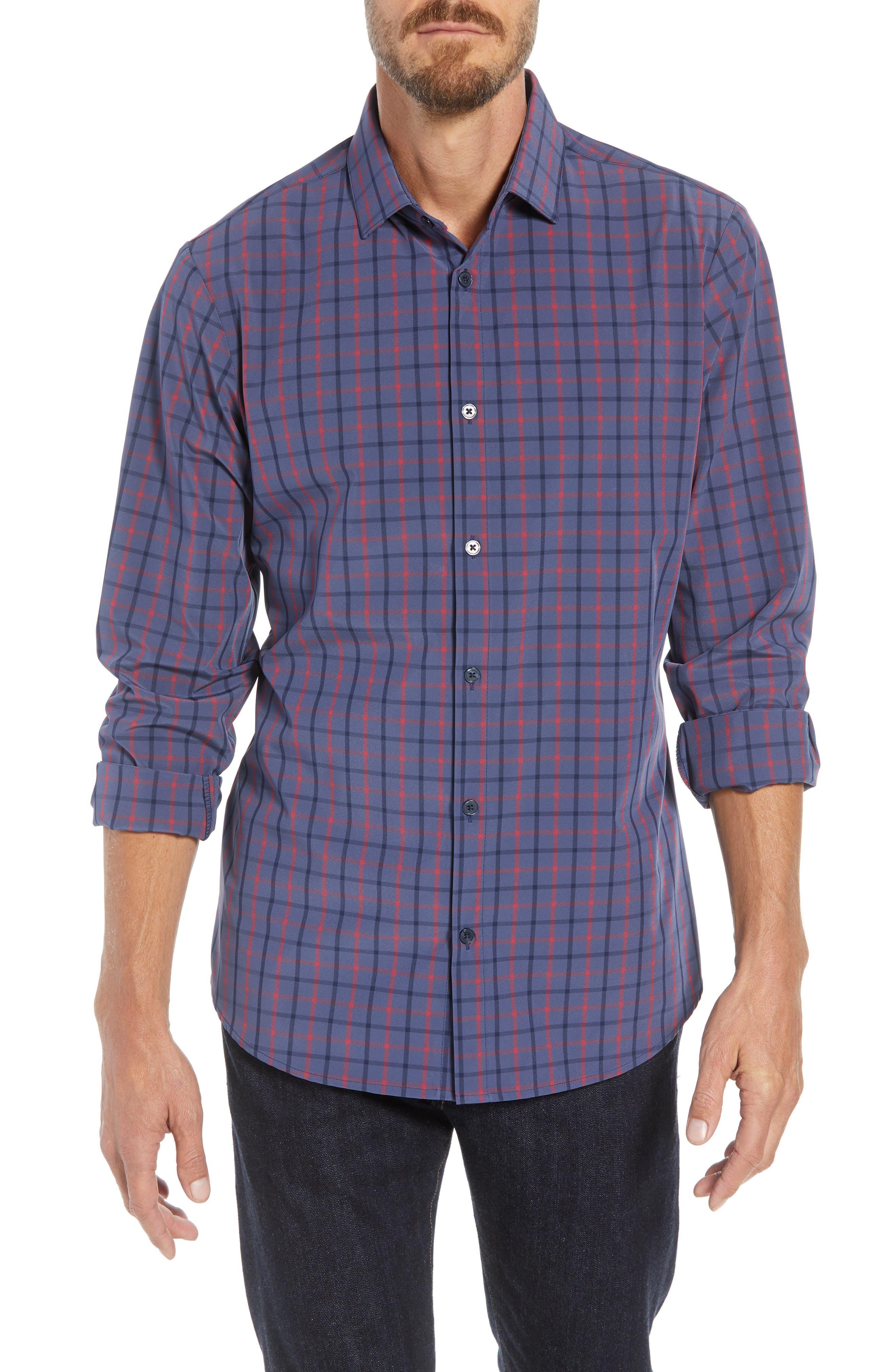 Wilson Slim Fit Plaid Performance Sport Shirt,                             Main thumbnail 1, color,                             BLUE