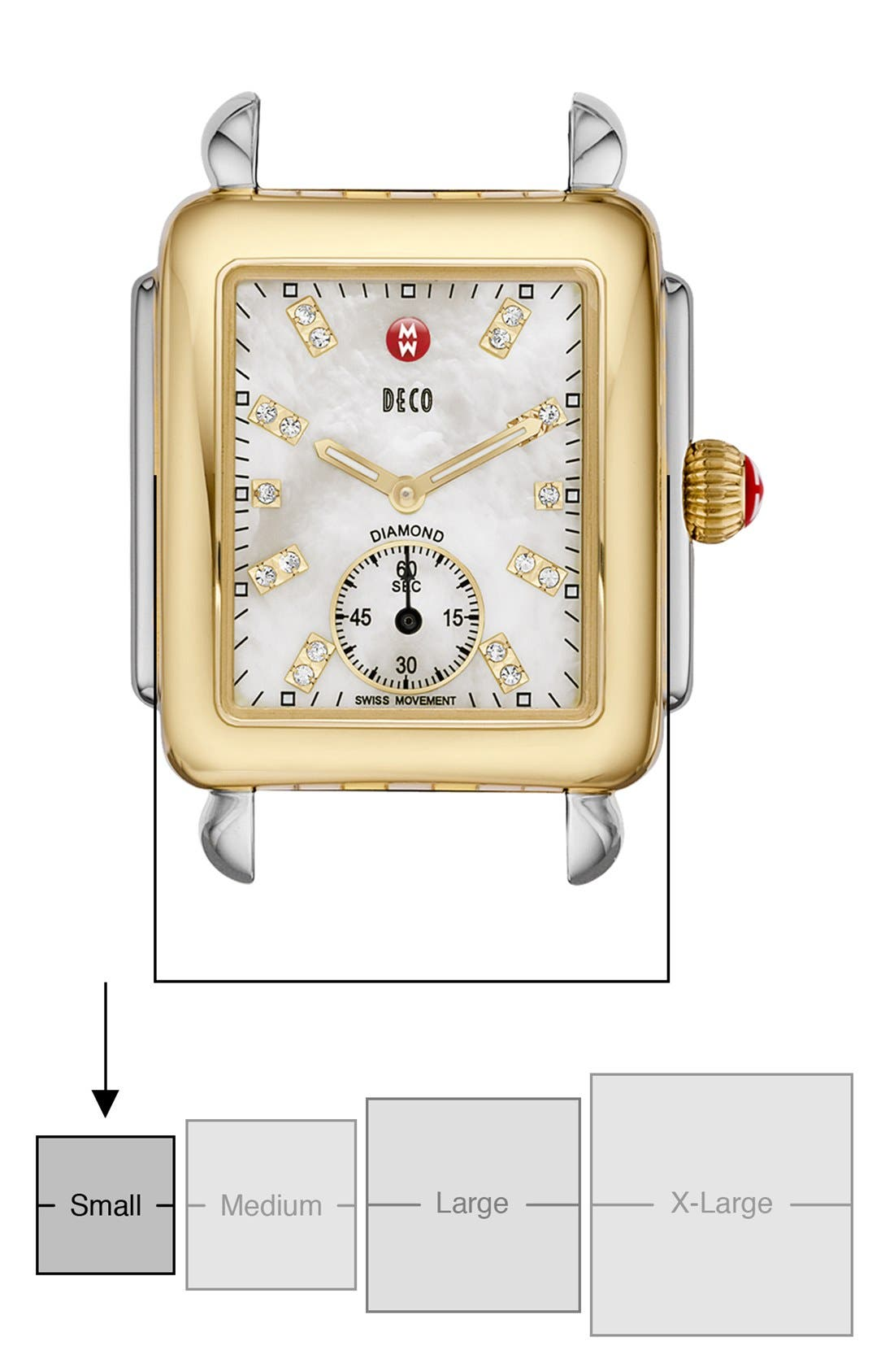 Deco 16 Diamond Dial Two-Tone Watch Case, 29mm x 31mm,                             Alternate thumbnail 5, color,                             GOLD/ SILVER