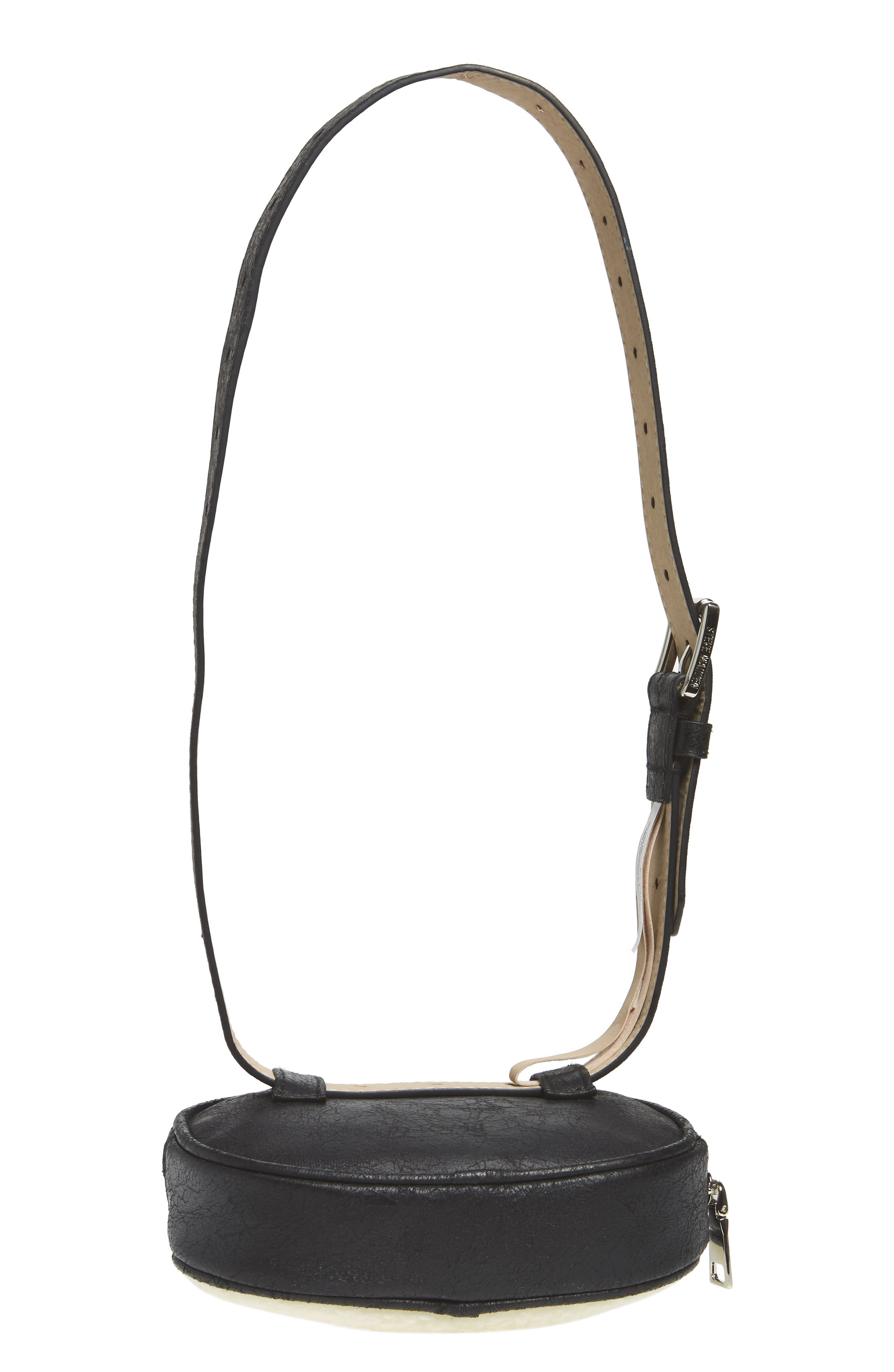 Faux Shearling Belt Bag,                             Alternate thumbnail 7, color,                             BLACK/ NATURAL