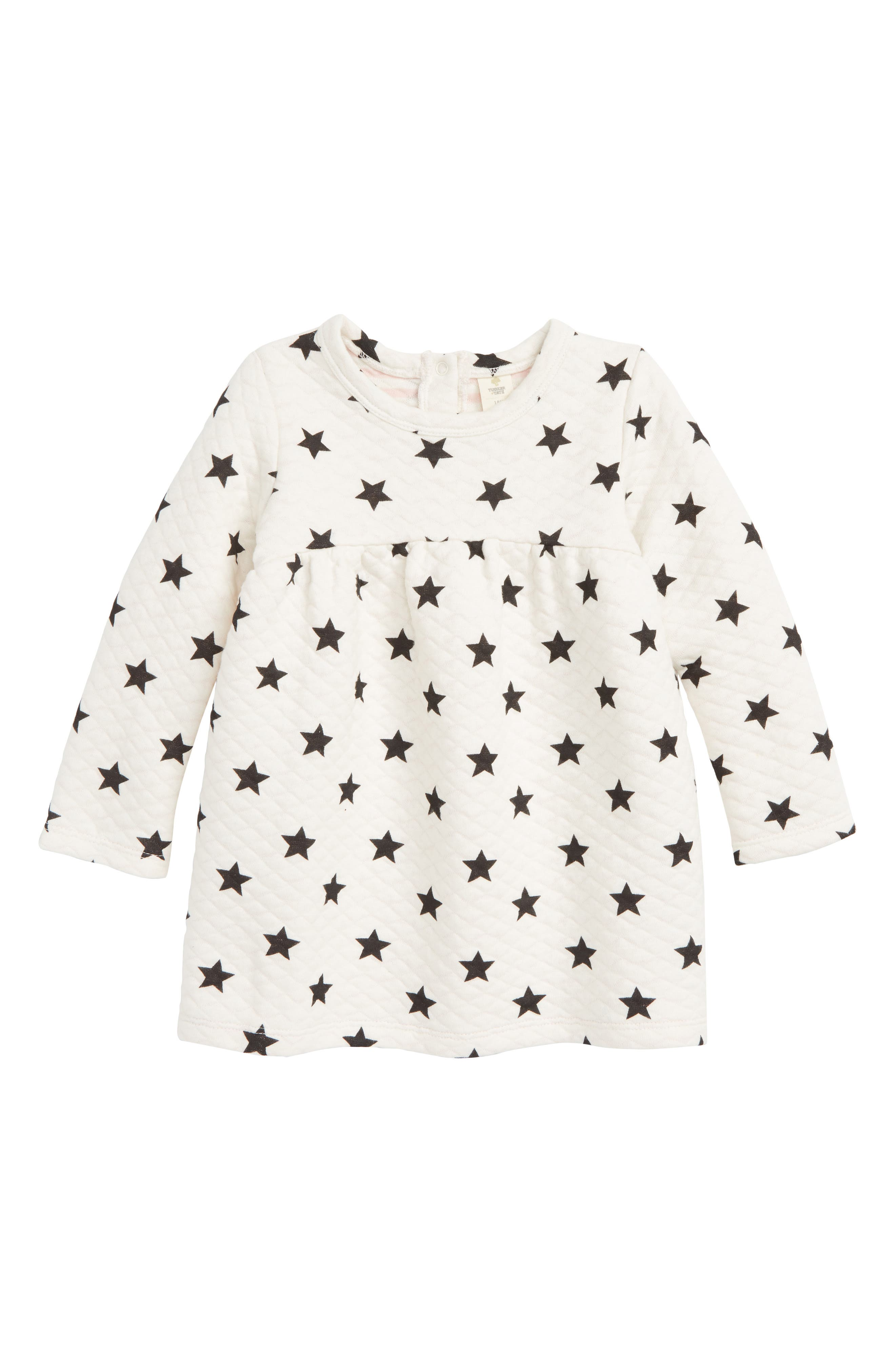 Star Quilted Dress,                         Main,                         color, IVORY EGRET STARS