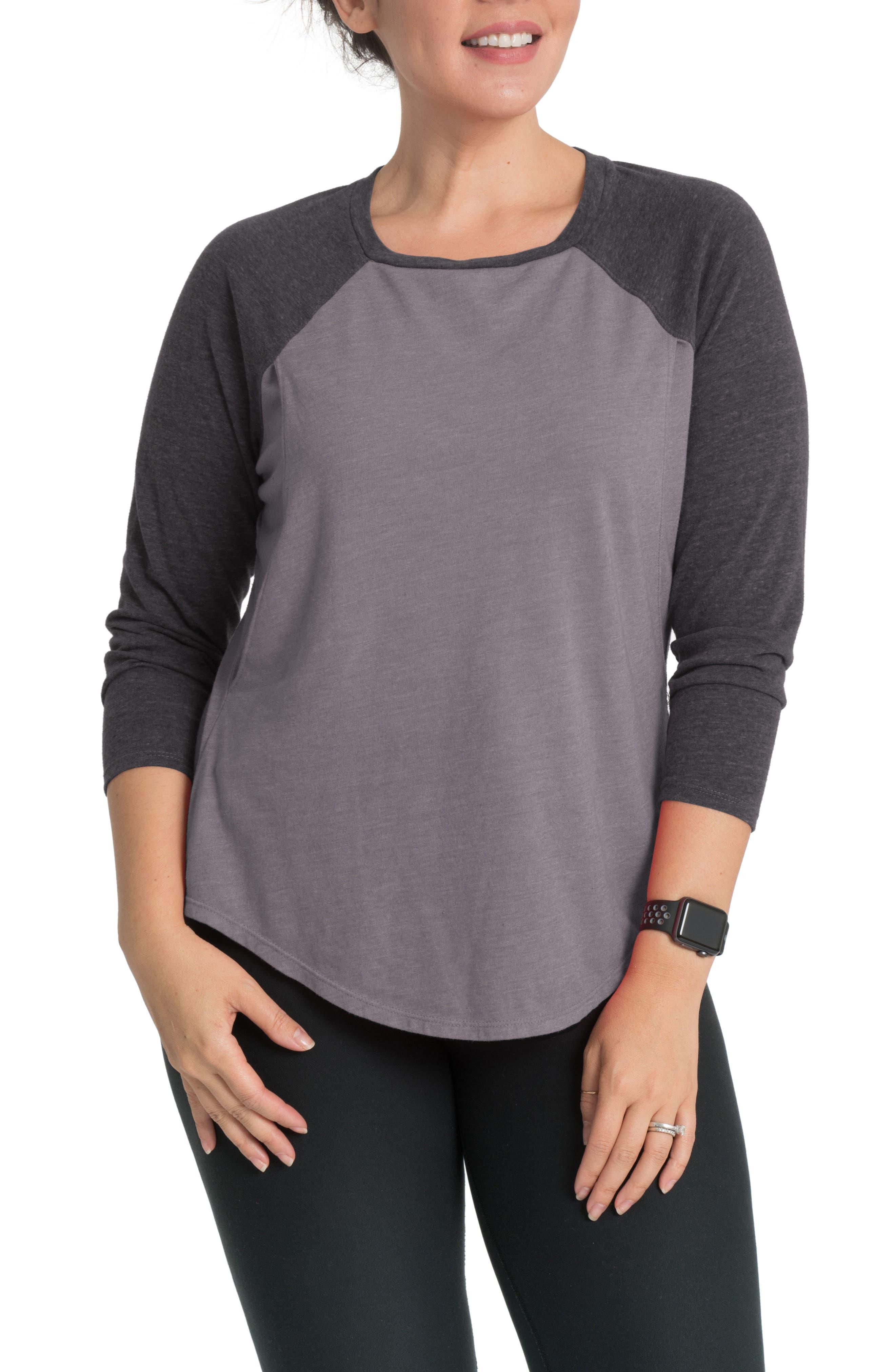 Relax Raglan Sleeve Maternity/Nursing Top,                         Main,                         color, MOONSTONE GRAY