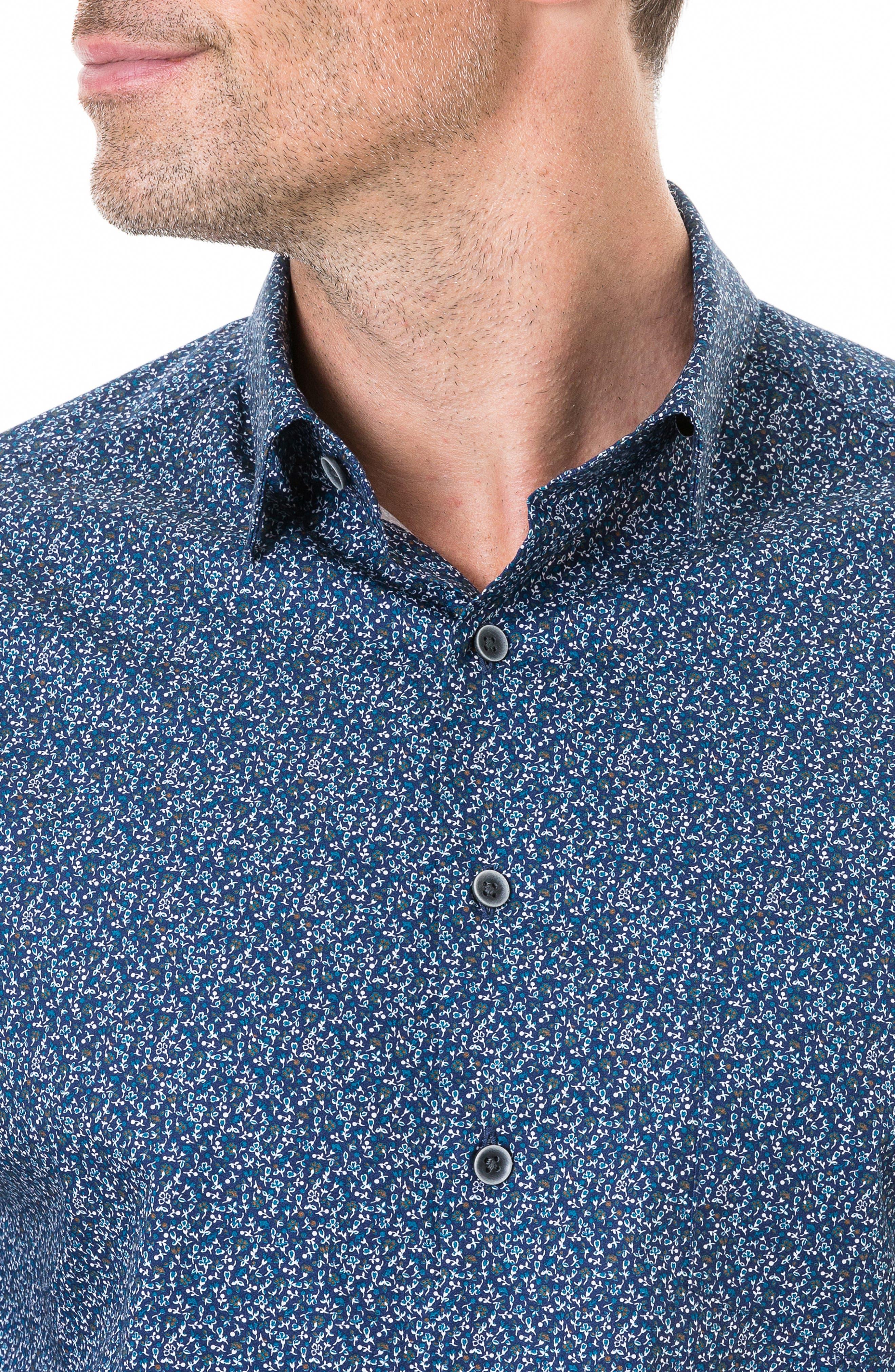 Scotland Street Regular Fit Floral Sport Shirt,                             Alternate thumbnail 2, color,                             NAVY
