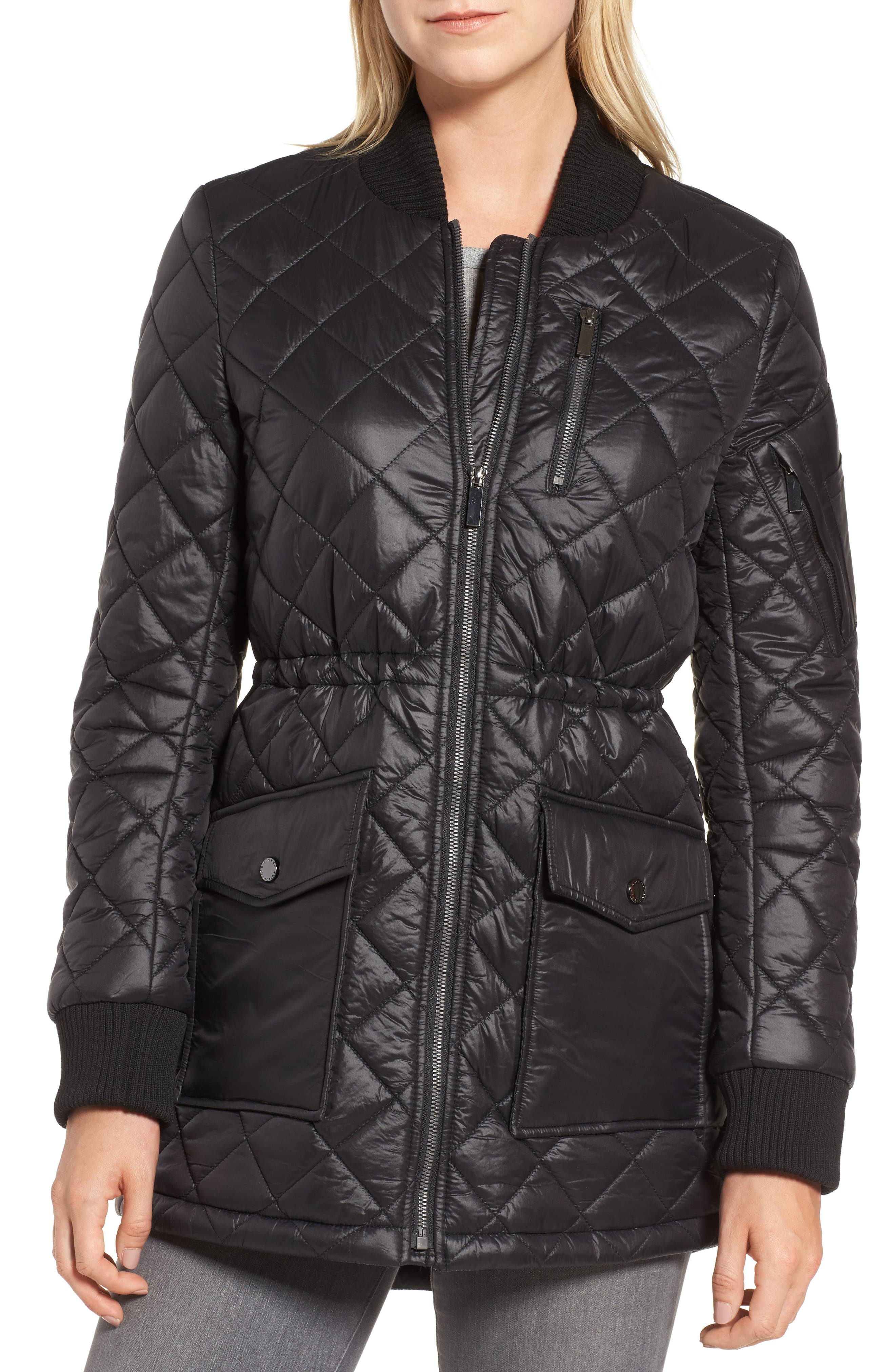 Quilted Anorak Jacket,                             Alternate thumbnail 4, color,                             001