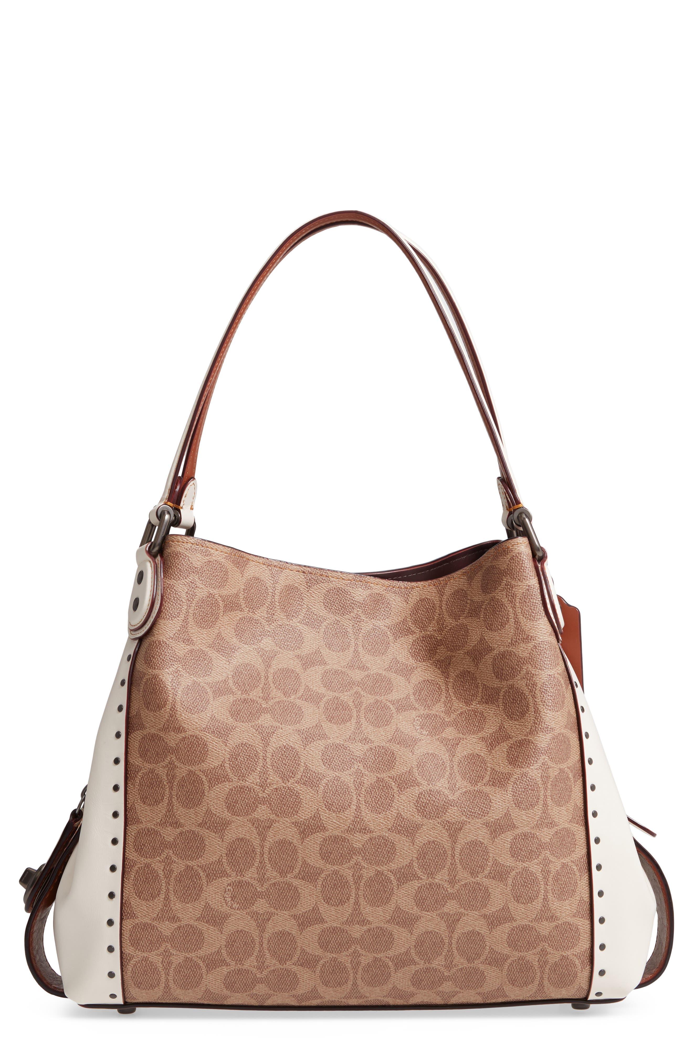 Edie 31 Signature Canvas & Leather Shoulder Bag,                             Main thumbnail 1, color,                             CHALK