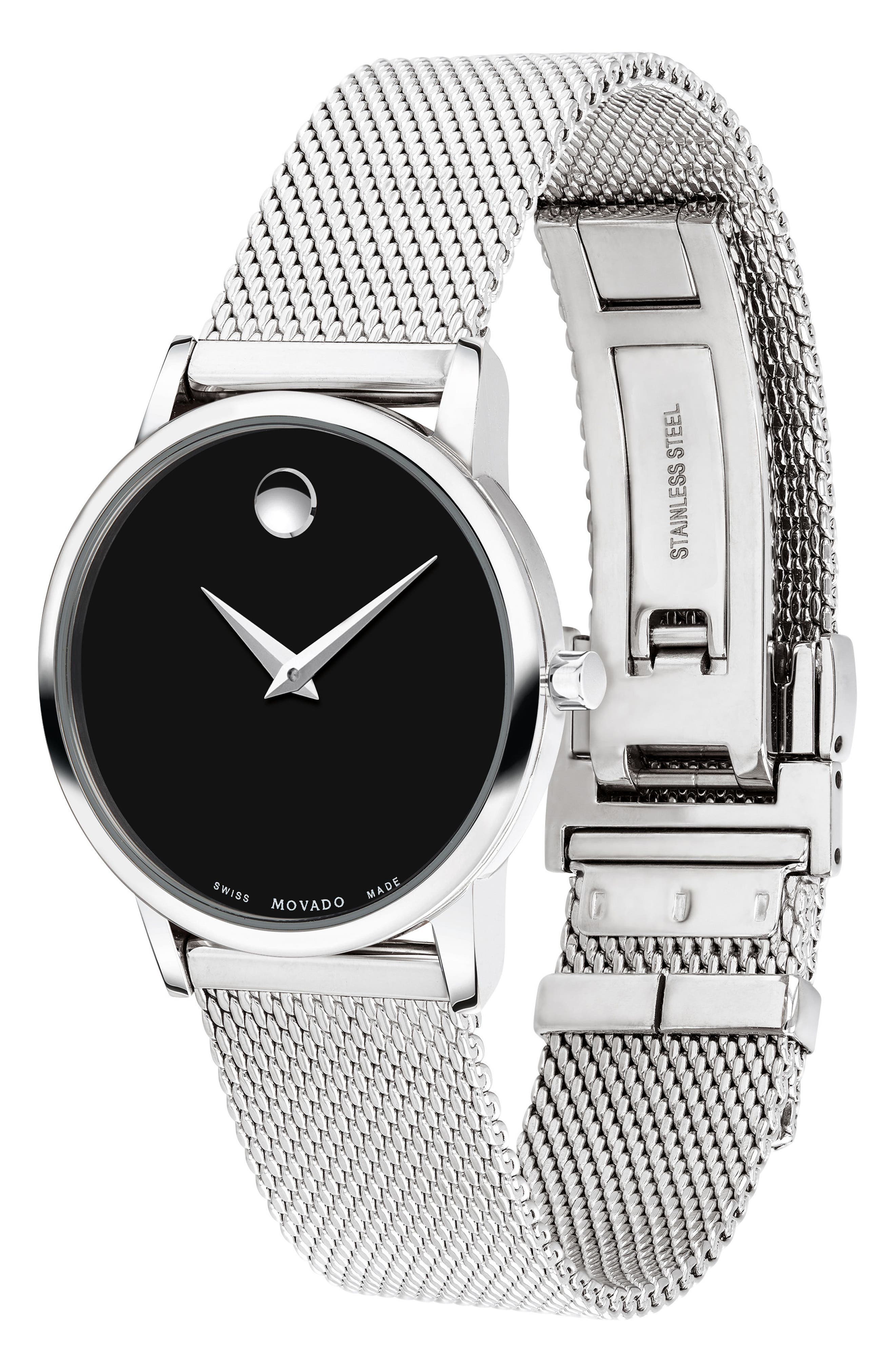 Museum Mesh Strap Watch, 28mm,                             Alternate thumbnail 3, color,                             SILVER/ BLACK/ SILVER