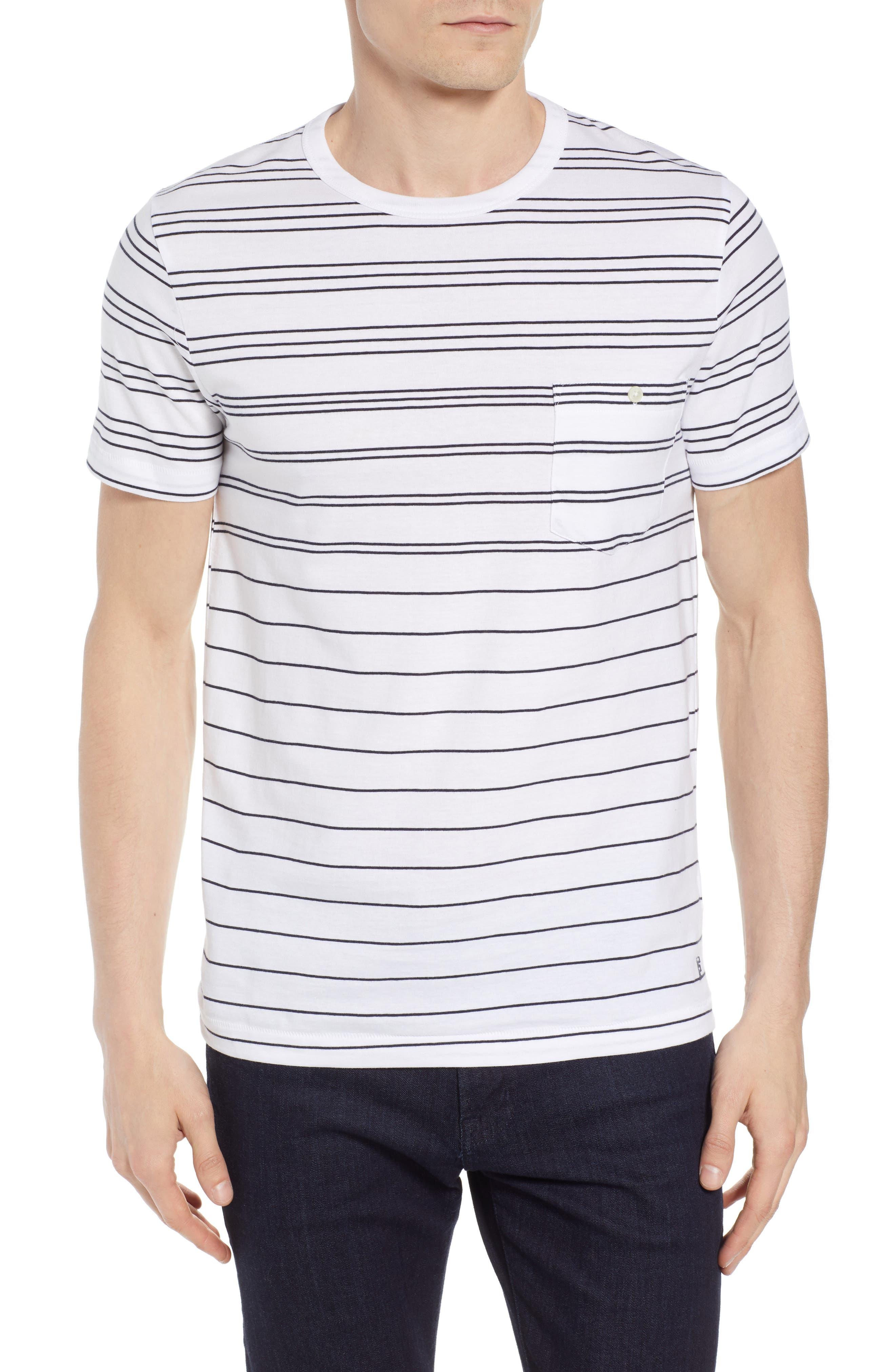 Summer Graded Stripe Pocket T-Shirt,                             Main thumbnail 1, color,                             WHITE MARINE BLUE
