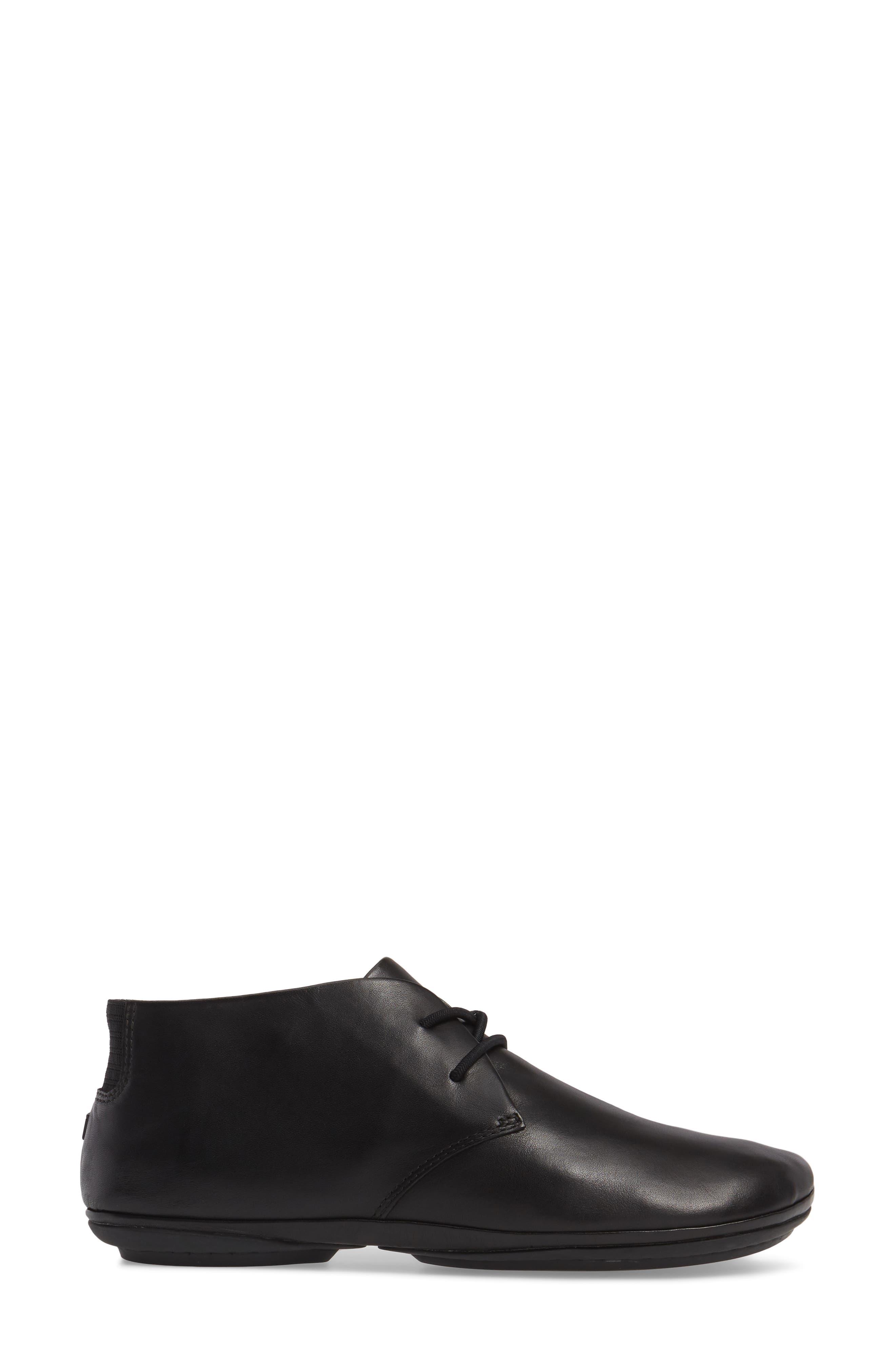 Right Nina Desert Shoe,                             Alternate thumbnail 3, color,                             BLACK LEATHER