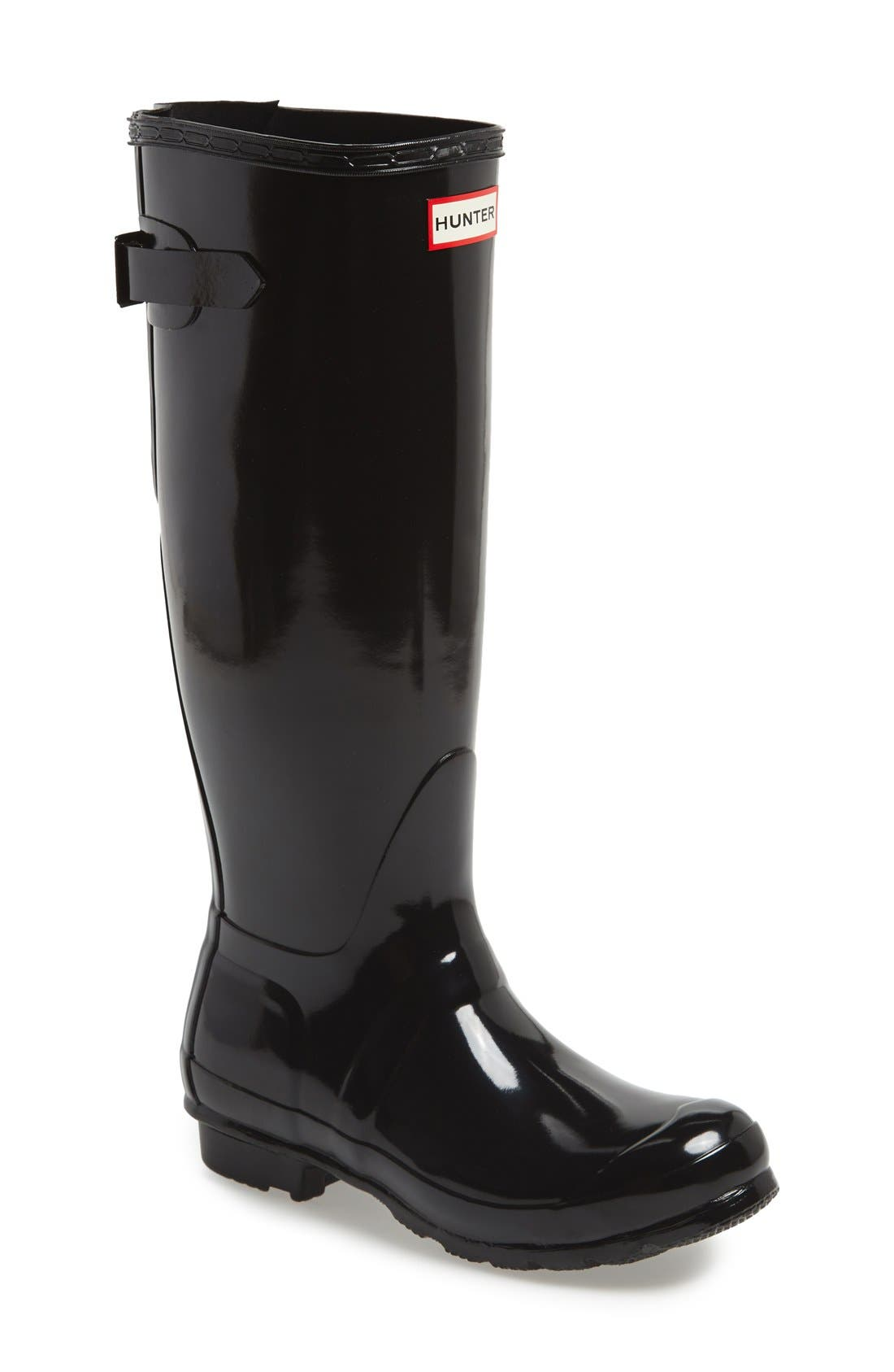 Adjustable Back Gloss Waterproof Rain Boot,                             Main thumbnail 1, color,                             BLACK