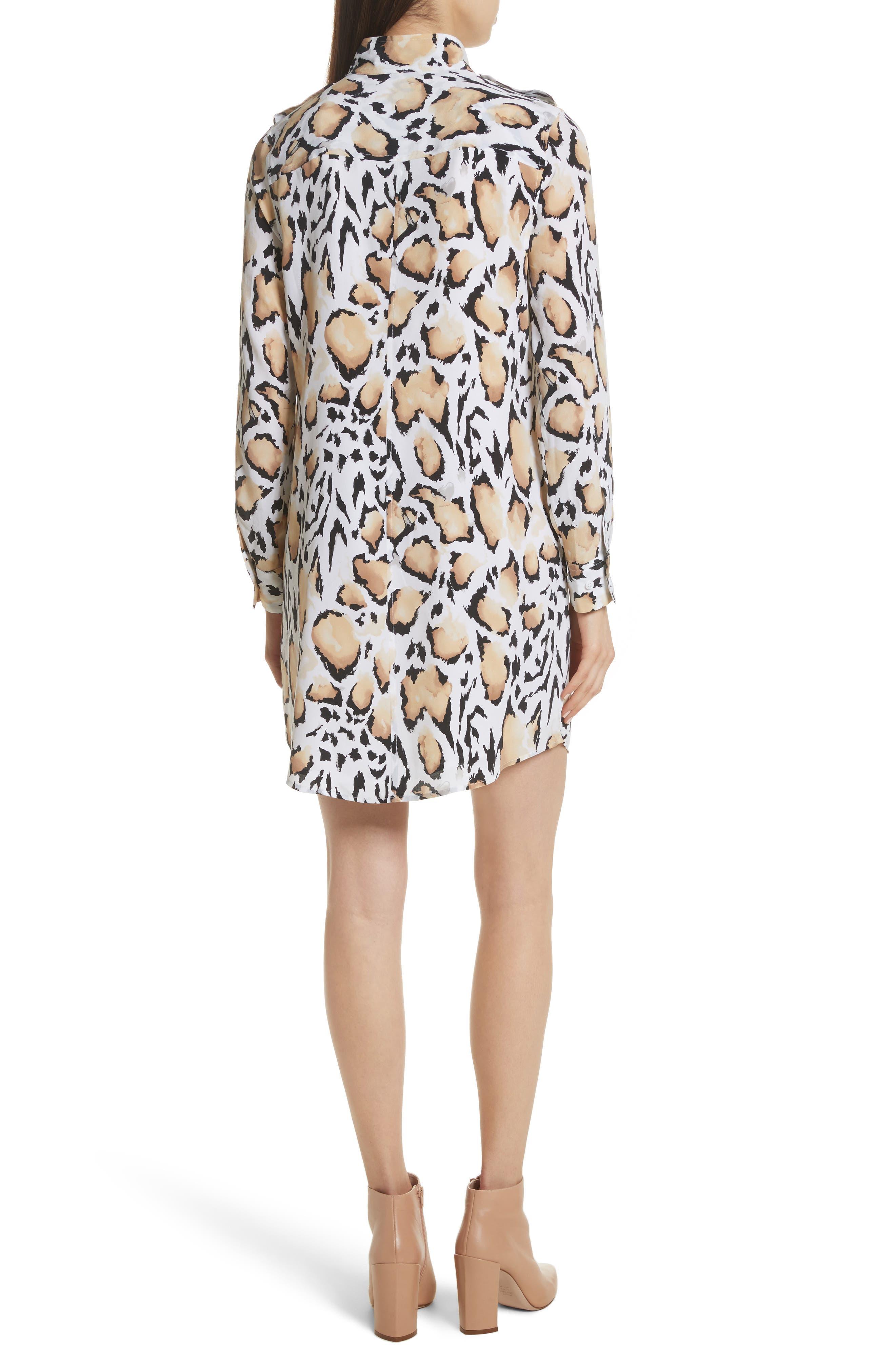 Freda Animal Print Silk Shirtdress,                             Alternate thumbnail 2, color,