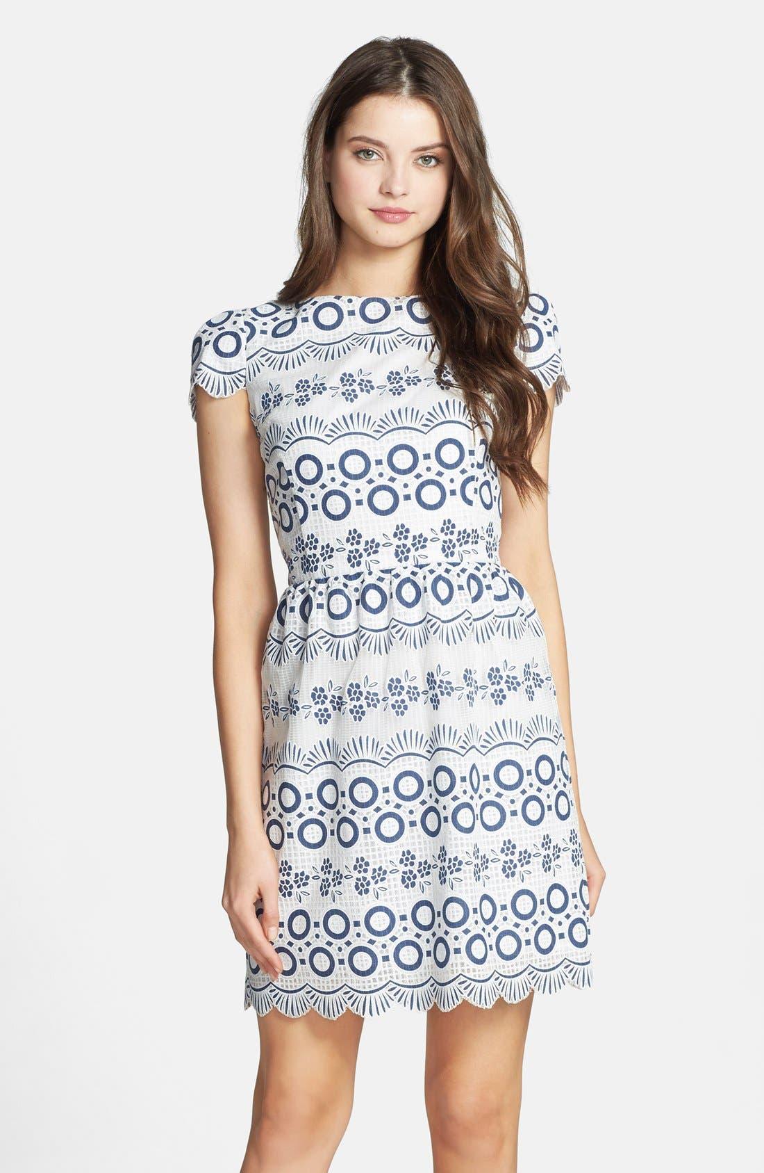 Print Lace Fit & Flare Dress, Main, color, 469