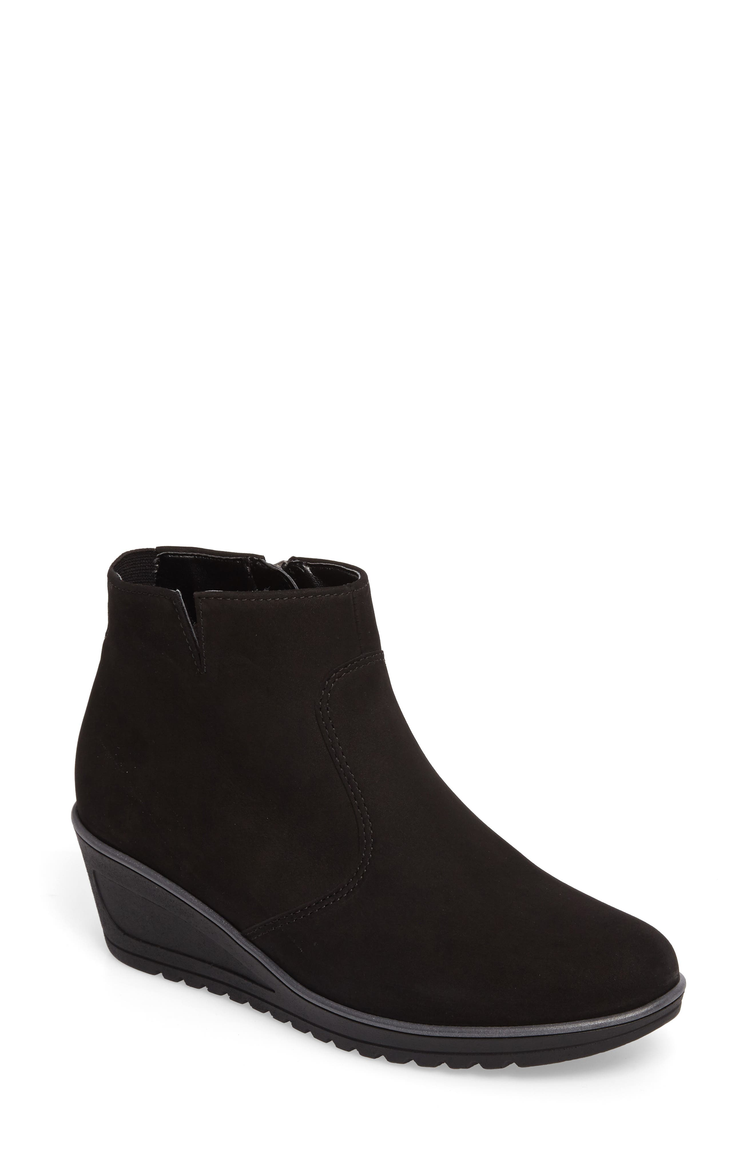 Hessa Wedge Bootie,                         Main,                         color, BLACK LEATHER