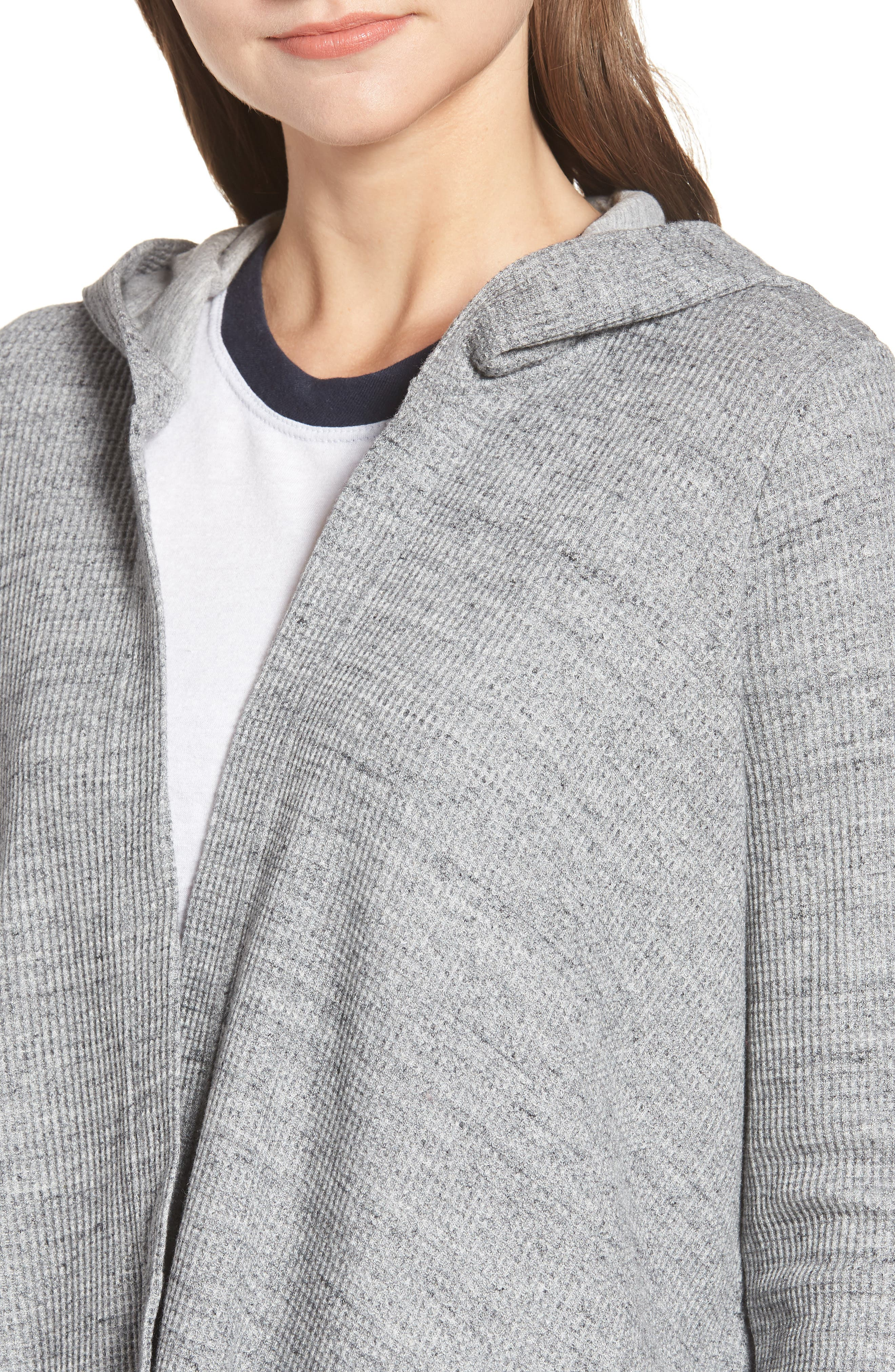 Thermal Hooded Cardigan,                             Alternate thumbnail 4, color,                             GRAVEL HEATHER GREY