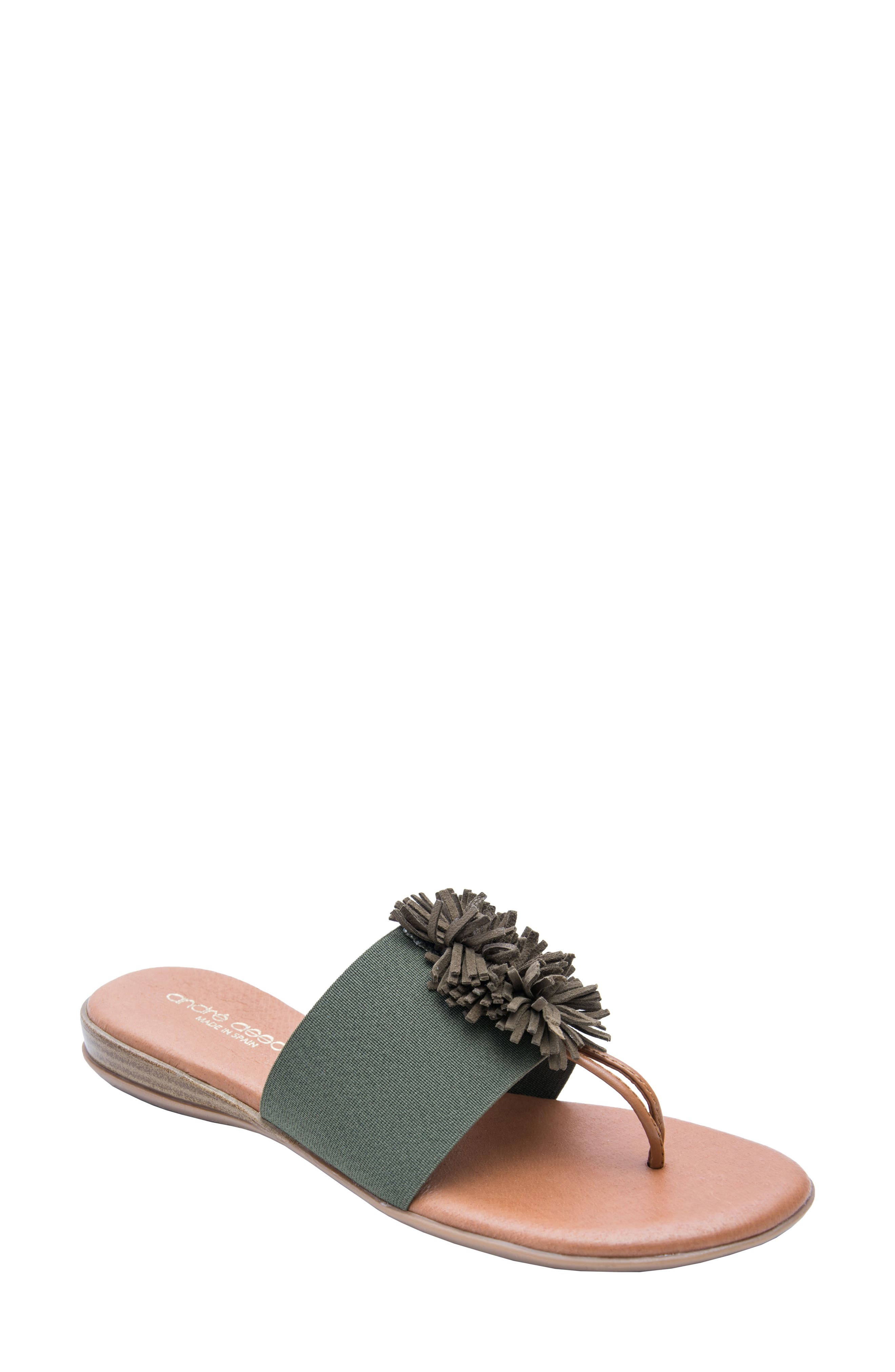 ANDRE ASSOUS Novalee Sandal in Forest Green Fabric