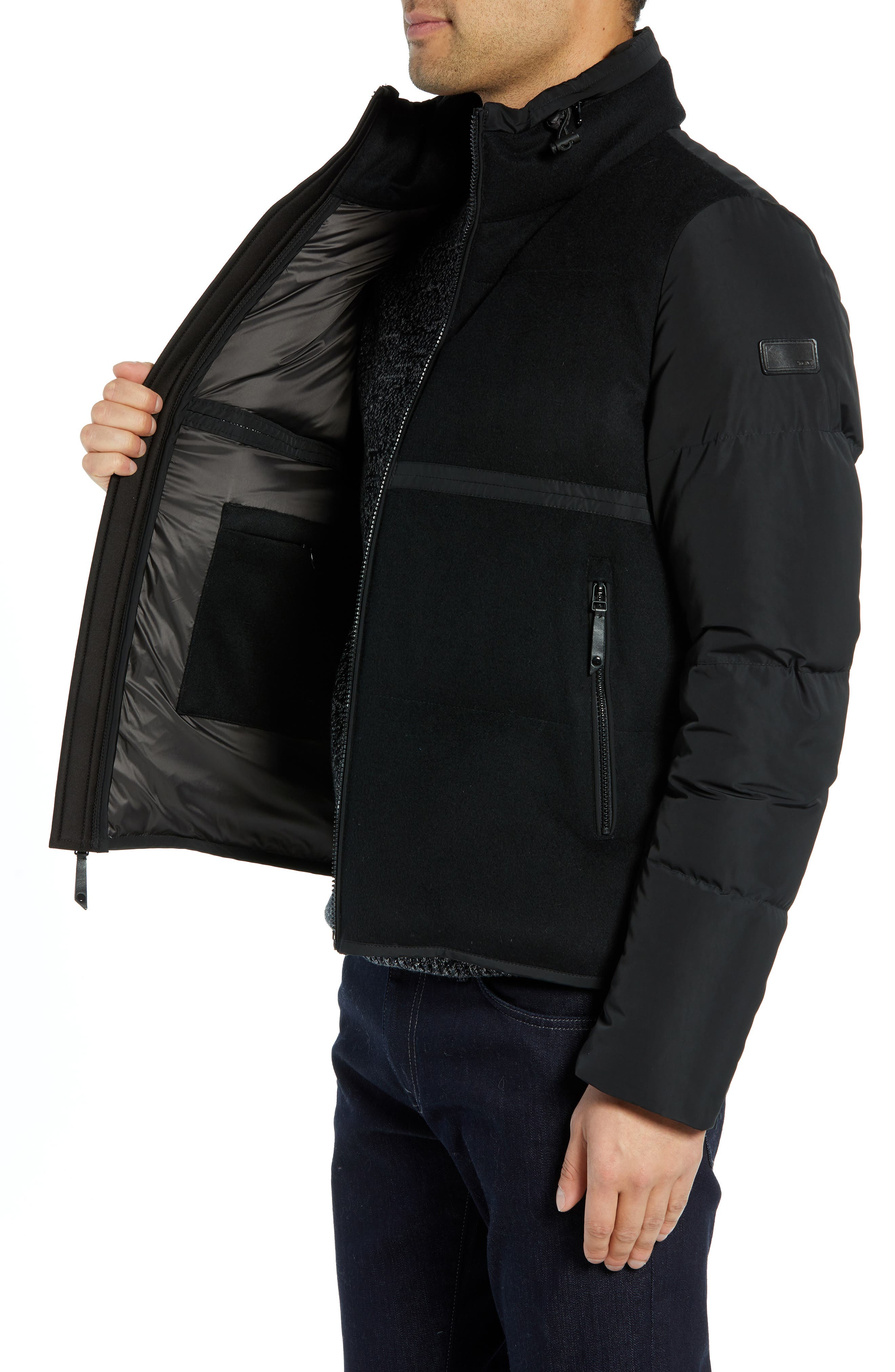 Wool Puffer Jacket,                             Alternate thumbnail 3, color,                             BLACK