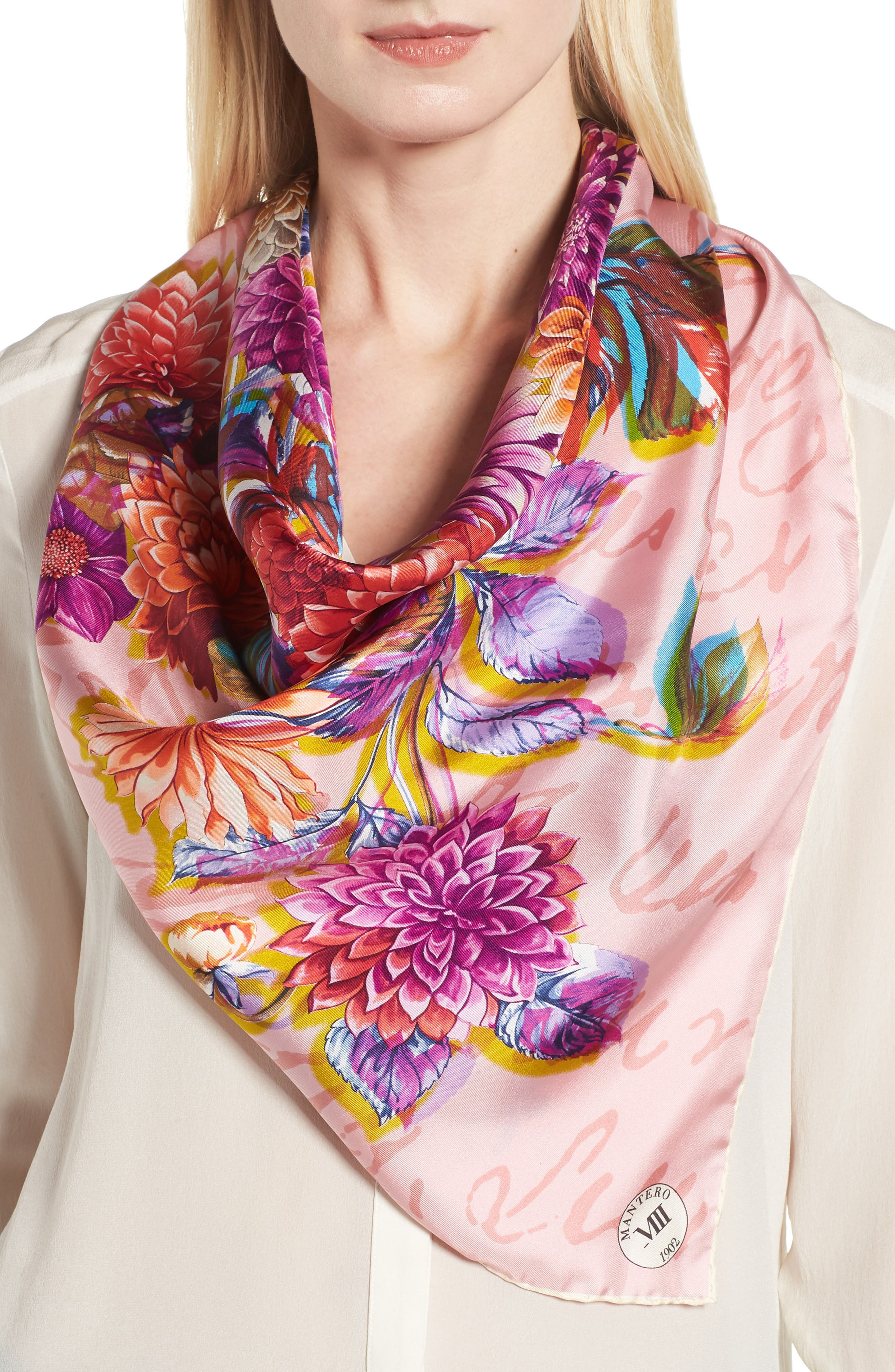 Dalia Multifocale Square Silk Scarf,                             Alternate thumbnail 2, color,                             PINK