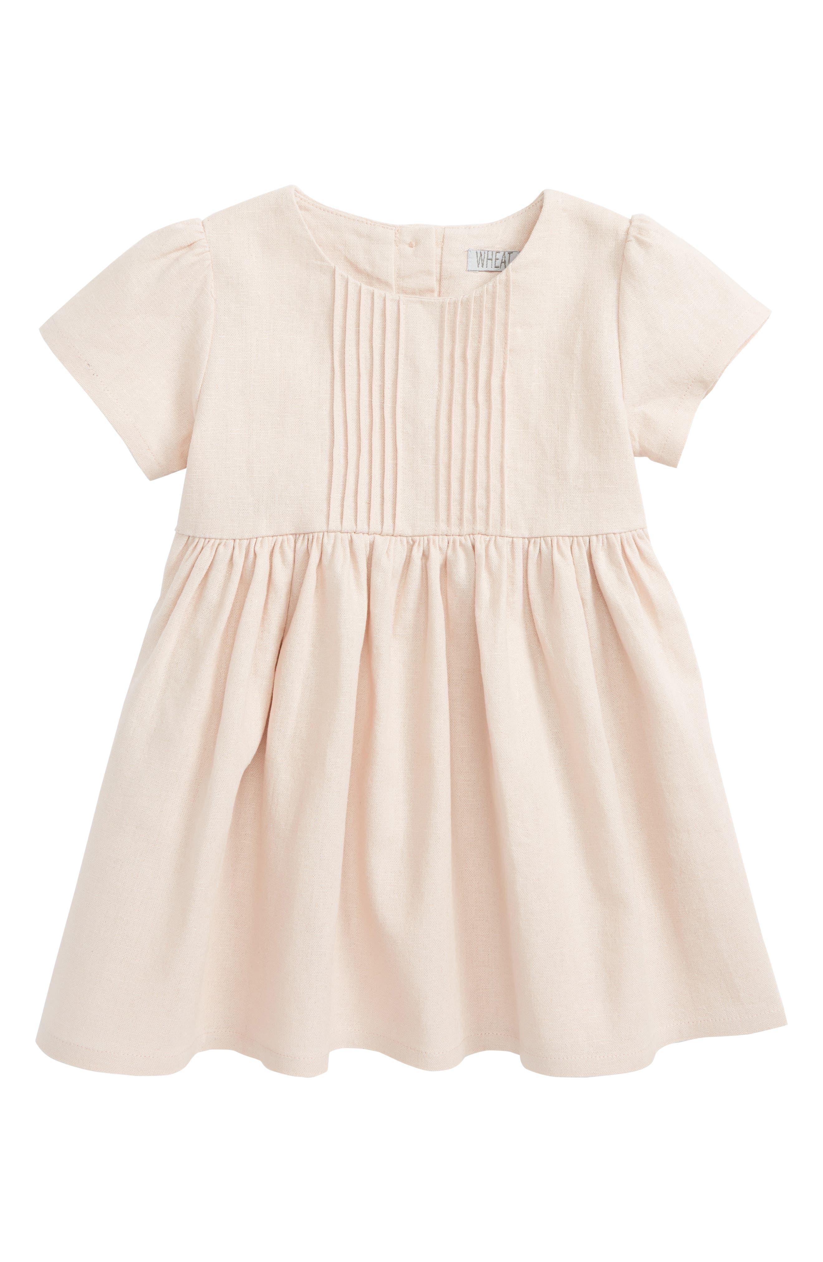 Sofia Pleated Linen Blend Dress,                             Main thumbnail 1, color,                             650