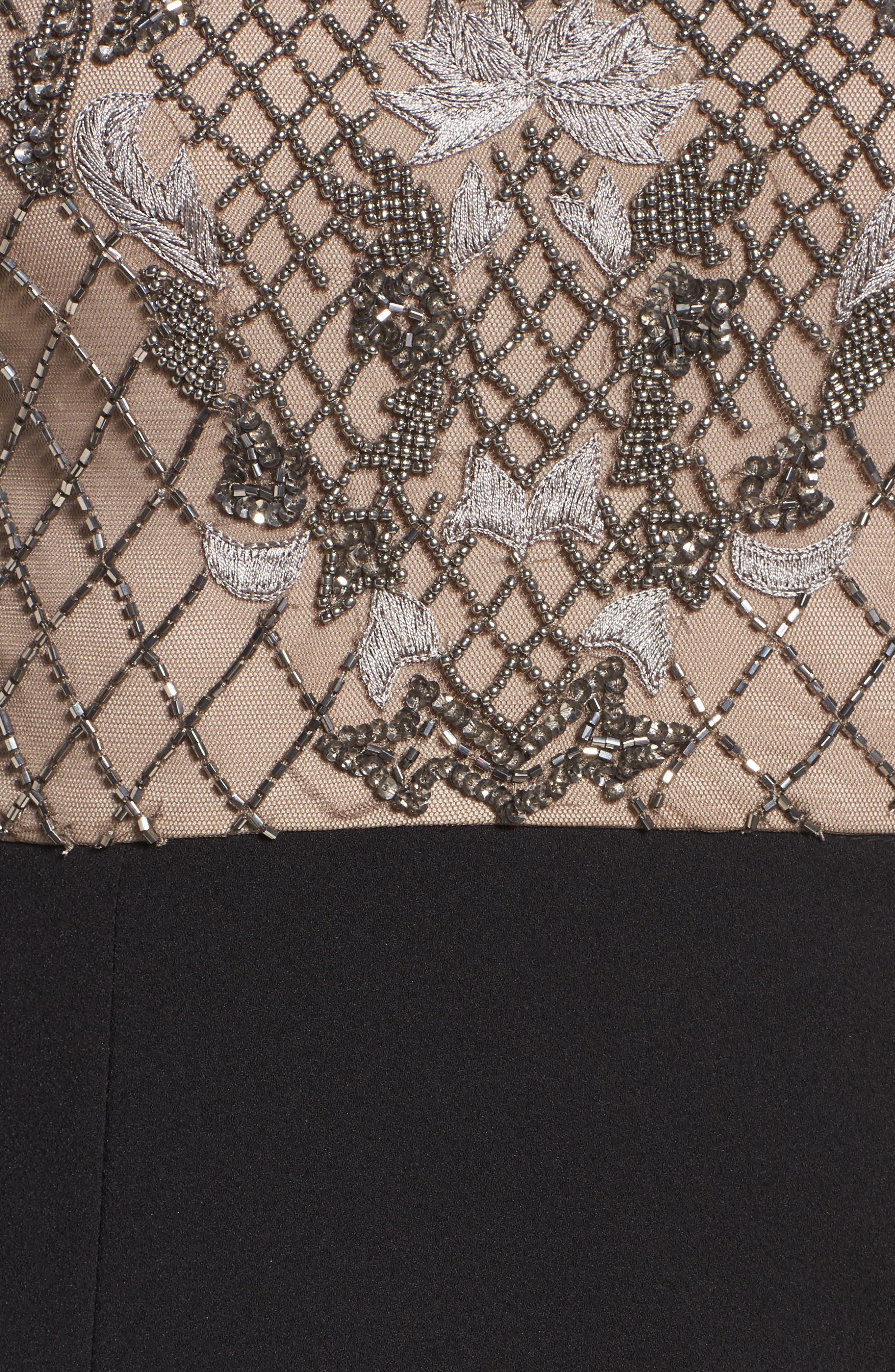 Embellished Bodice Drape Front Dress,                             Alternate thumbnail 5, color,                             002