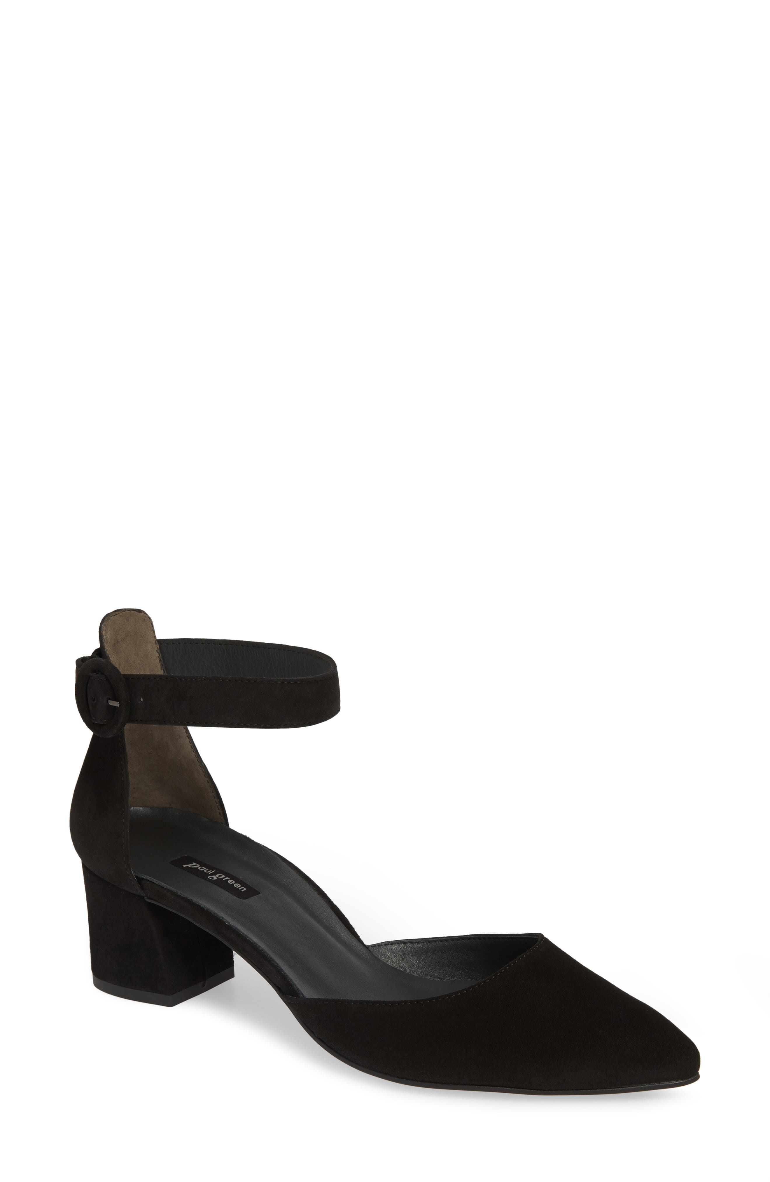 PAUL GREEN,                             Annie Ankle Strap Pump,                             Main thumbnail 1, color,                             BLACK SUEDE