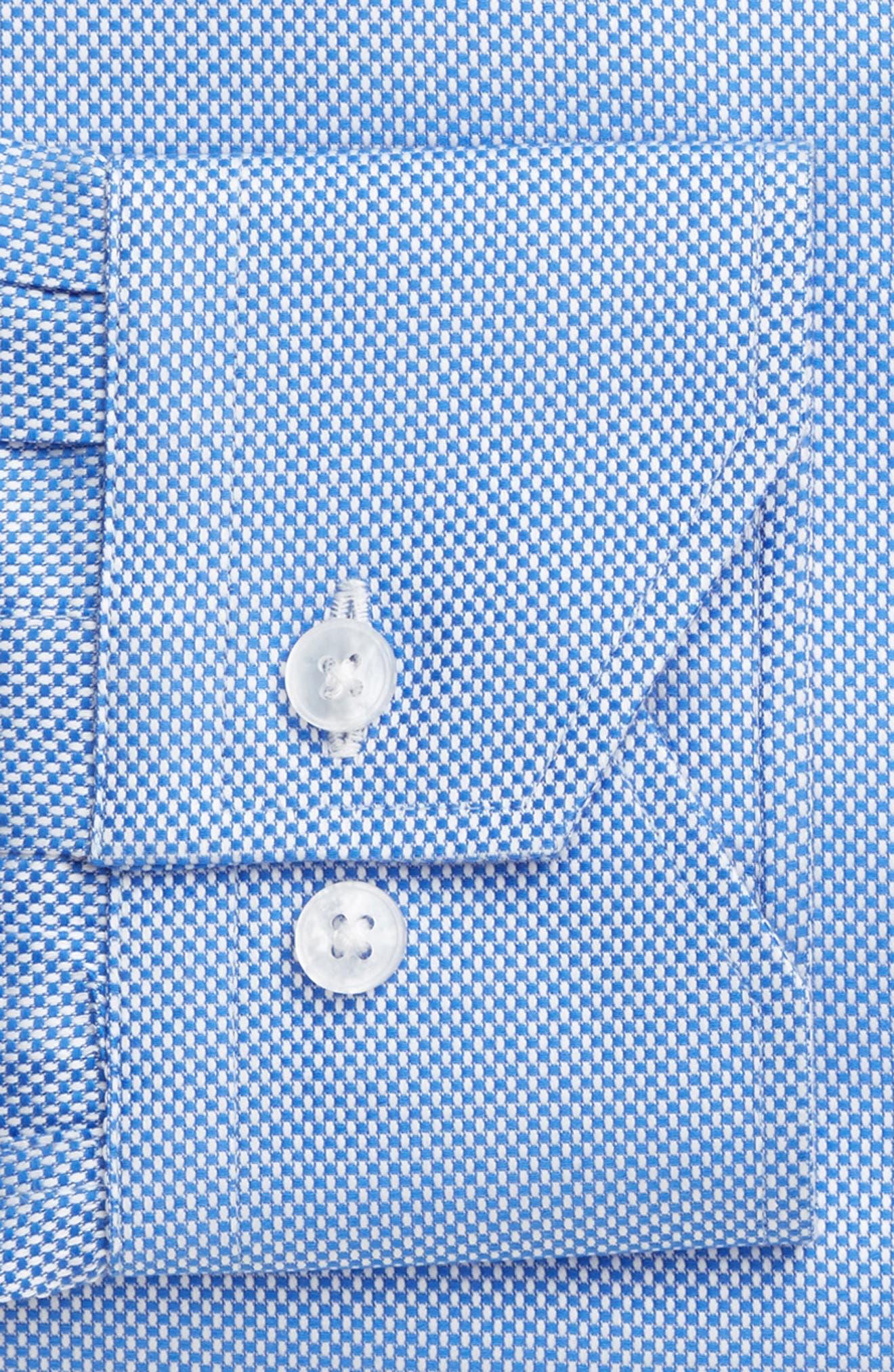 Trim Fit Texture Dress Shirt,                             Alternate thumbnail 4, color,                             NAVY