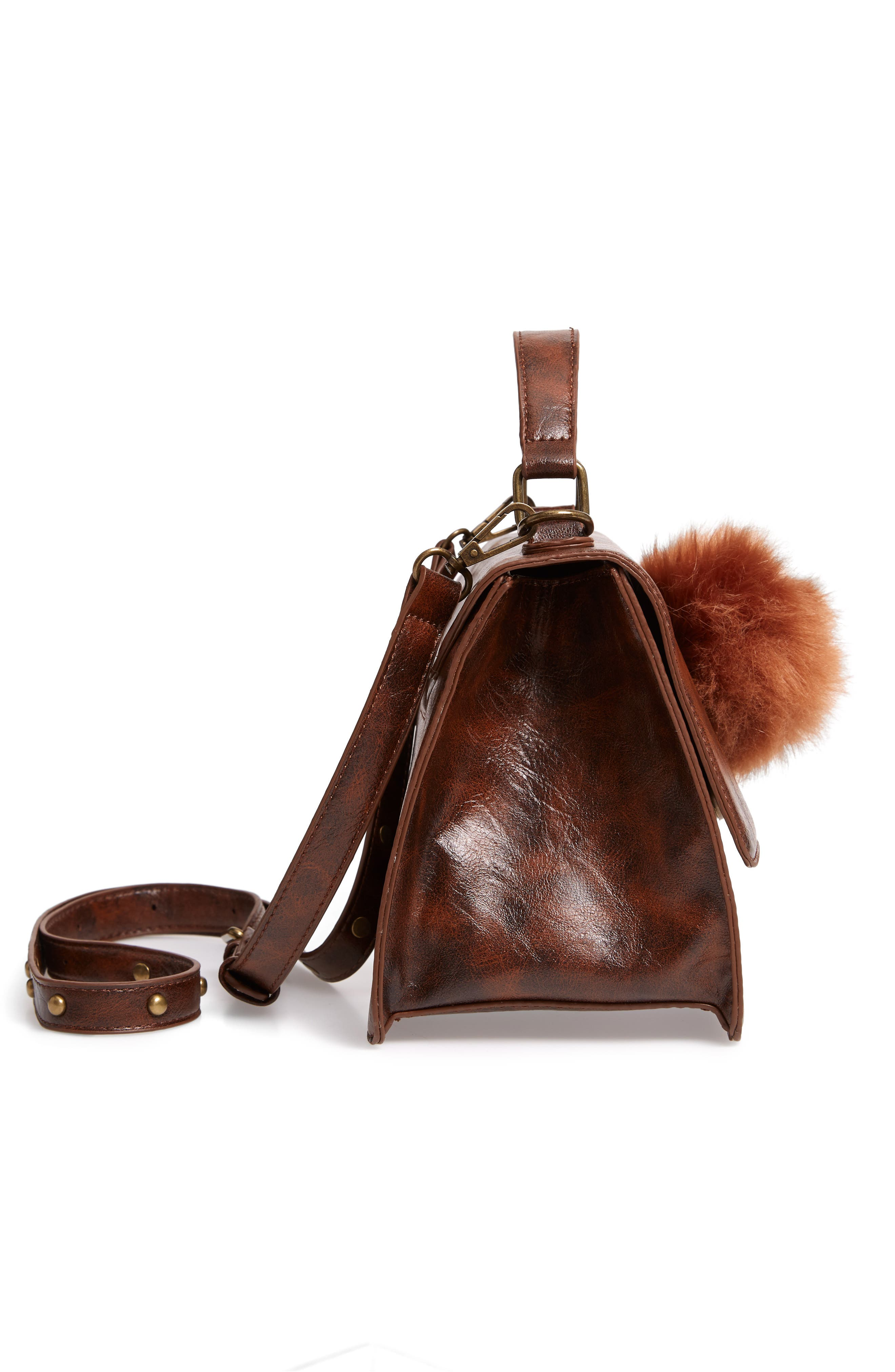 MUCHE ET MUCHETTE,                             Eleanor Faux Leather Satchel with Faux Fur Pom,                             Alternate thumbnail 5, color,                             BROWN