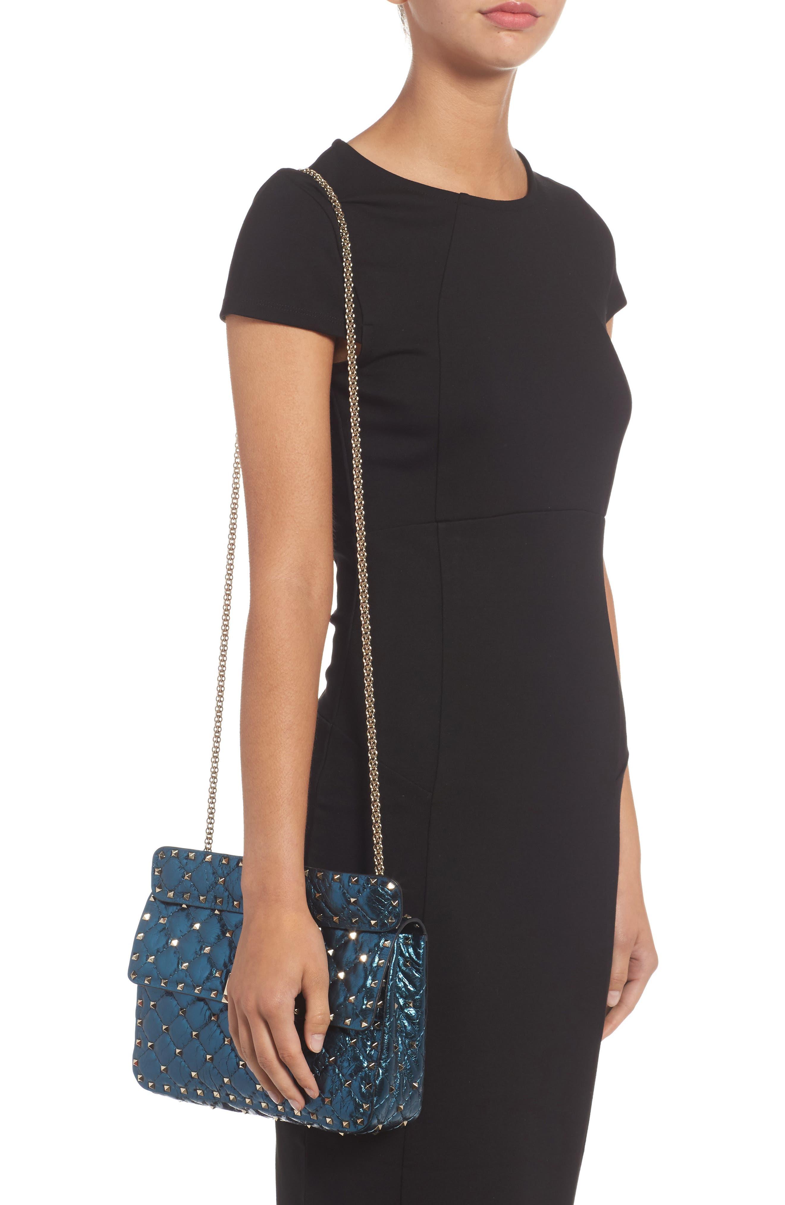Medium Rockstud Spike Lambskin Shoulder Bag,                             Alternate thumbnail 2, color,