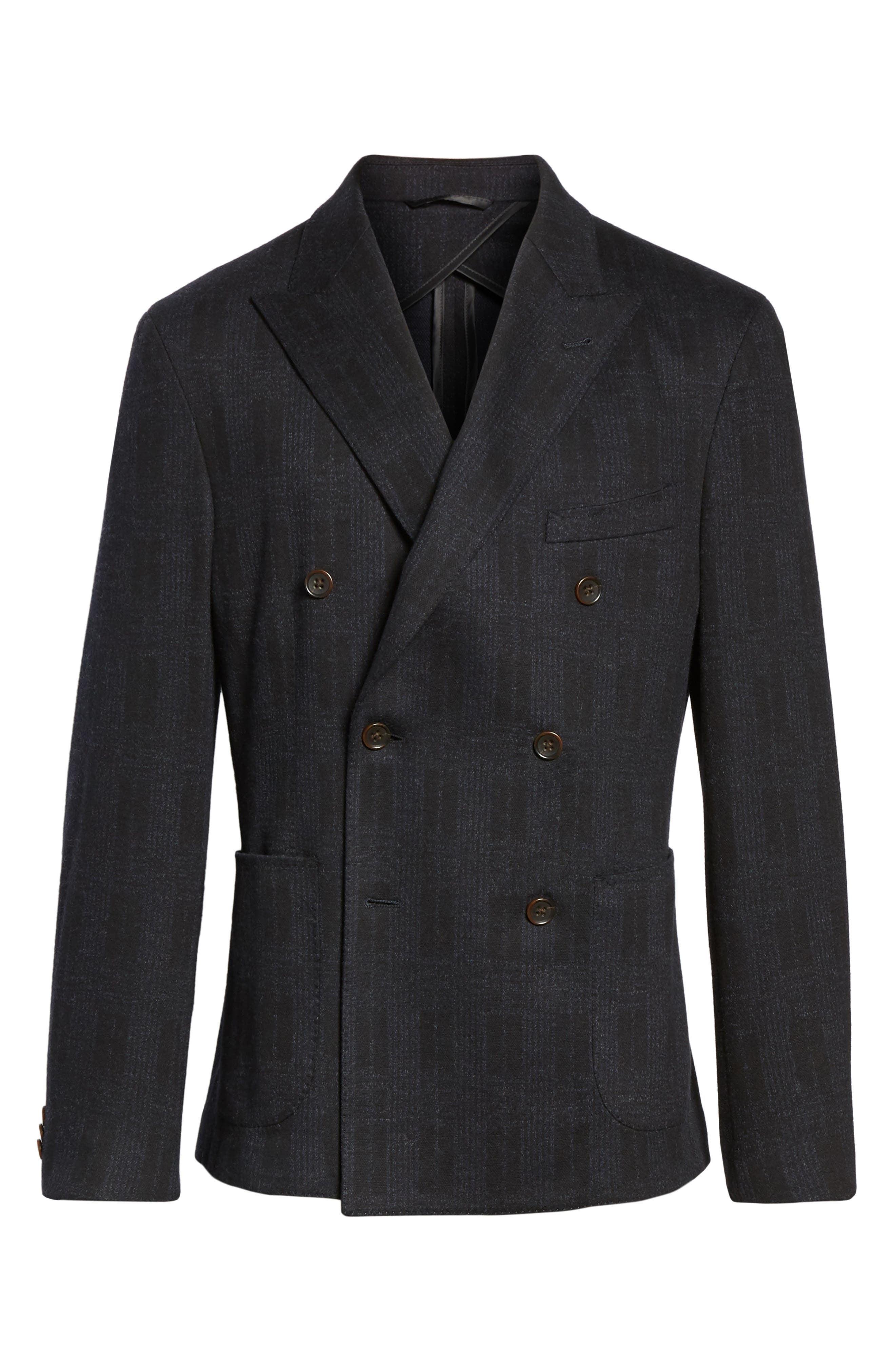 Classic Fit Jersey Double-Breasted Sport Coat,                             Alternate thumbnail 5, color,                             001