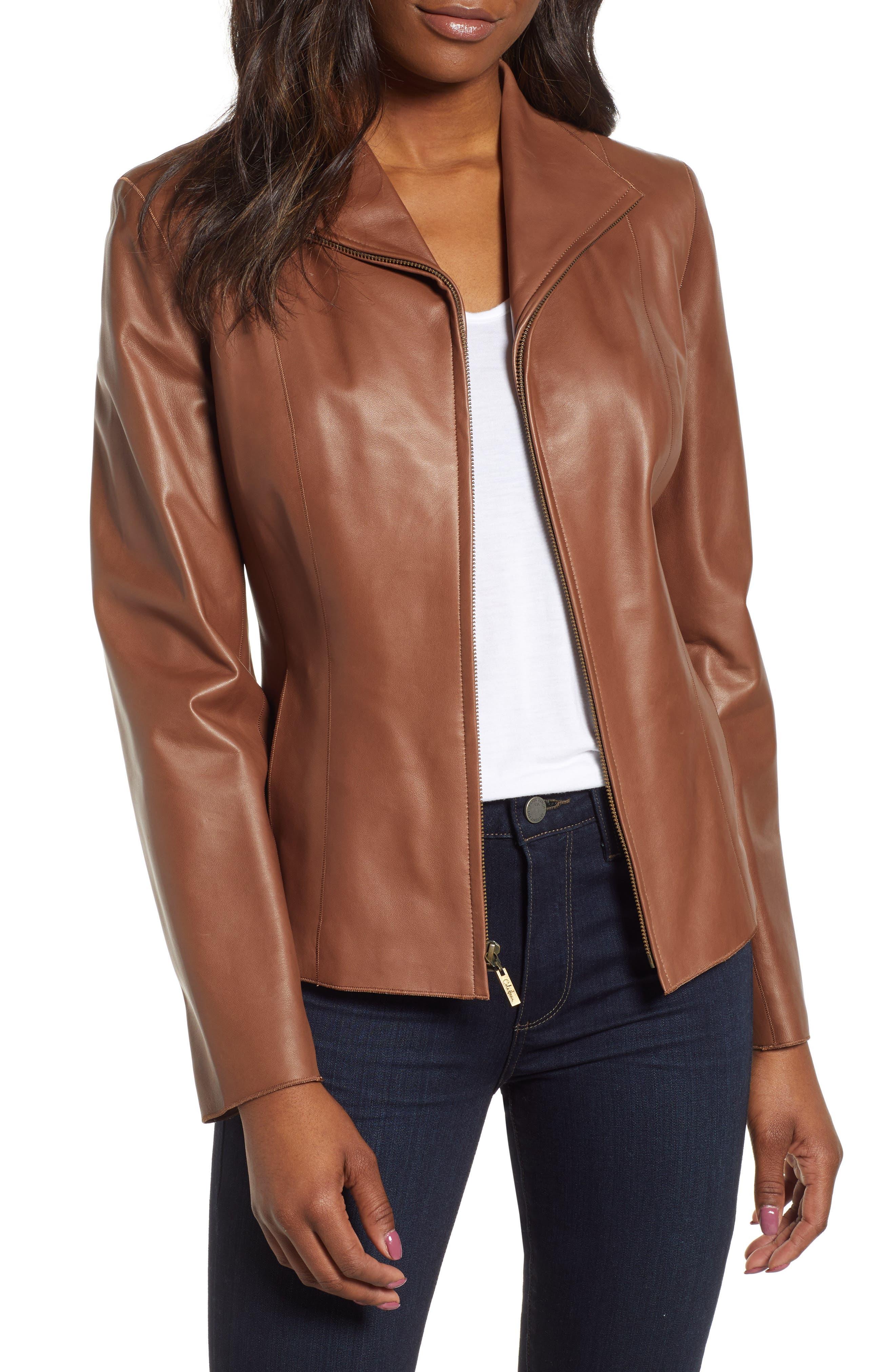 COLE HAAN Lambskin Leather Scuba Jacket, Main, color, 237