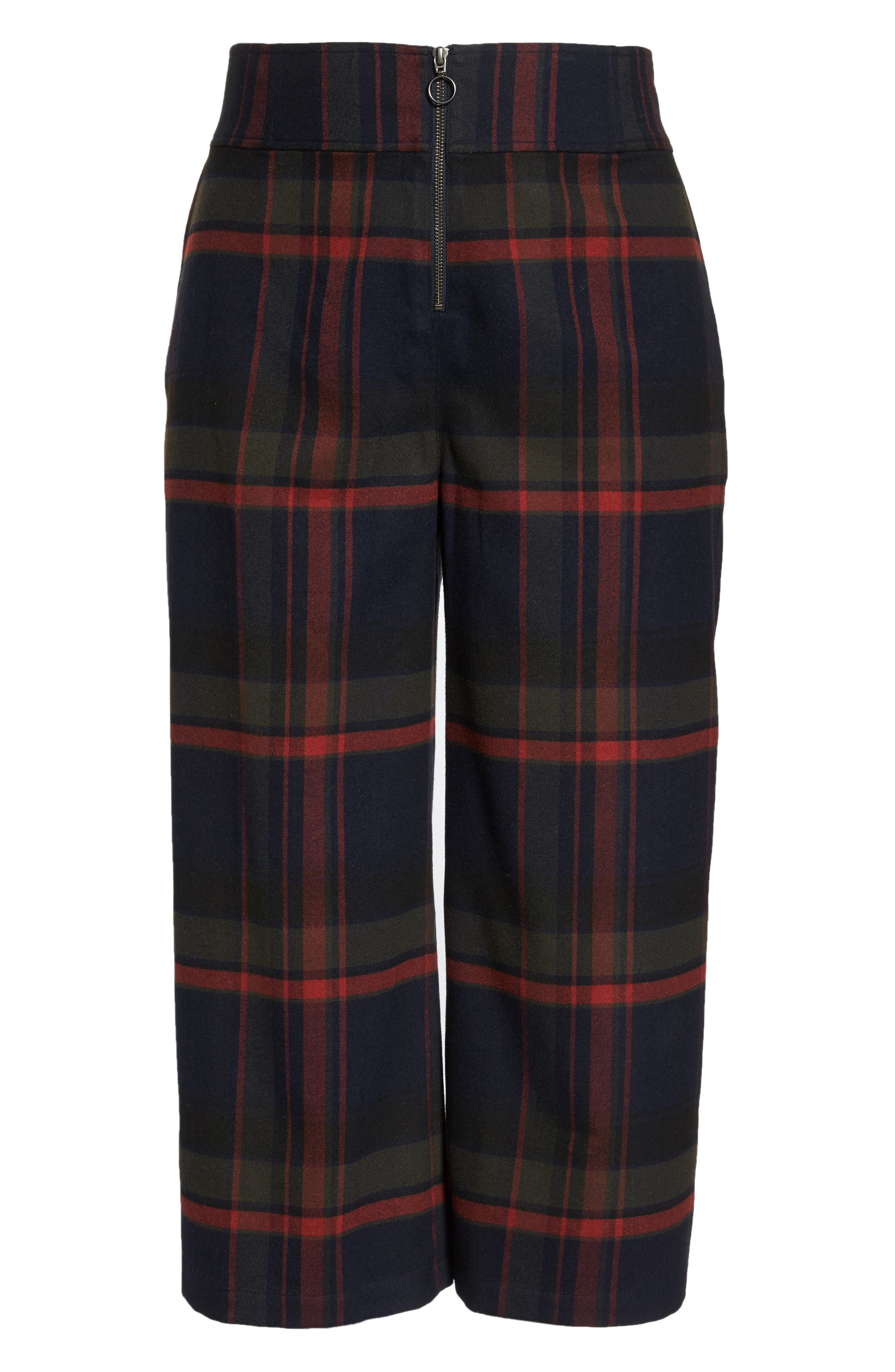 High Rise Plaid Crop Pants,                             Alternate thumbnail 12, color,                             NAVY MARITIME JESSA PLAID