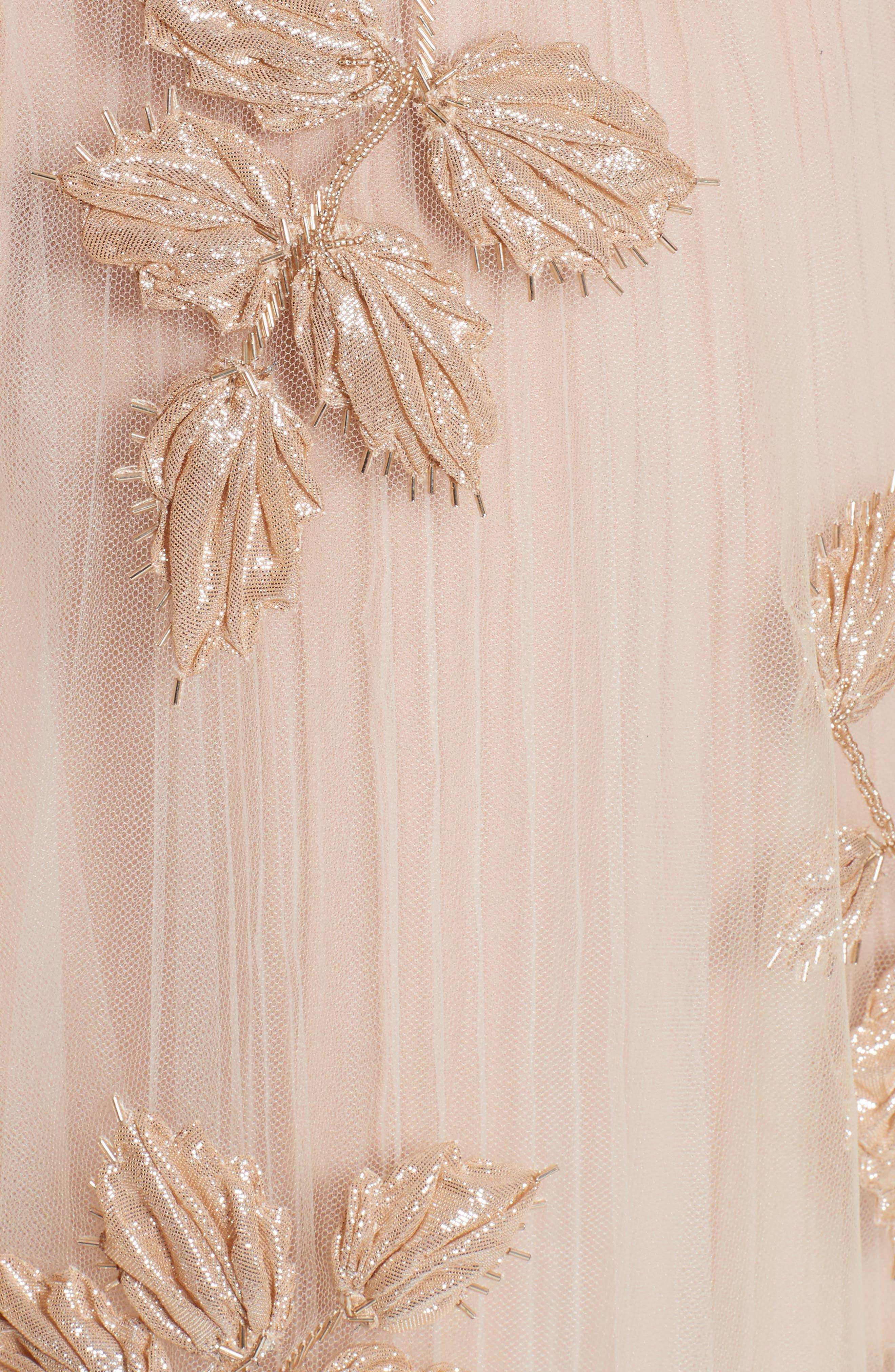 Sequin Leaf Tulle Midi Dress,                             Alternate thumbnail 6, color,                             650
