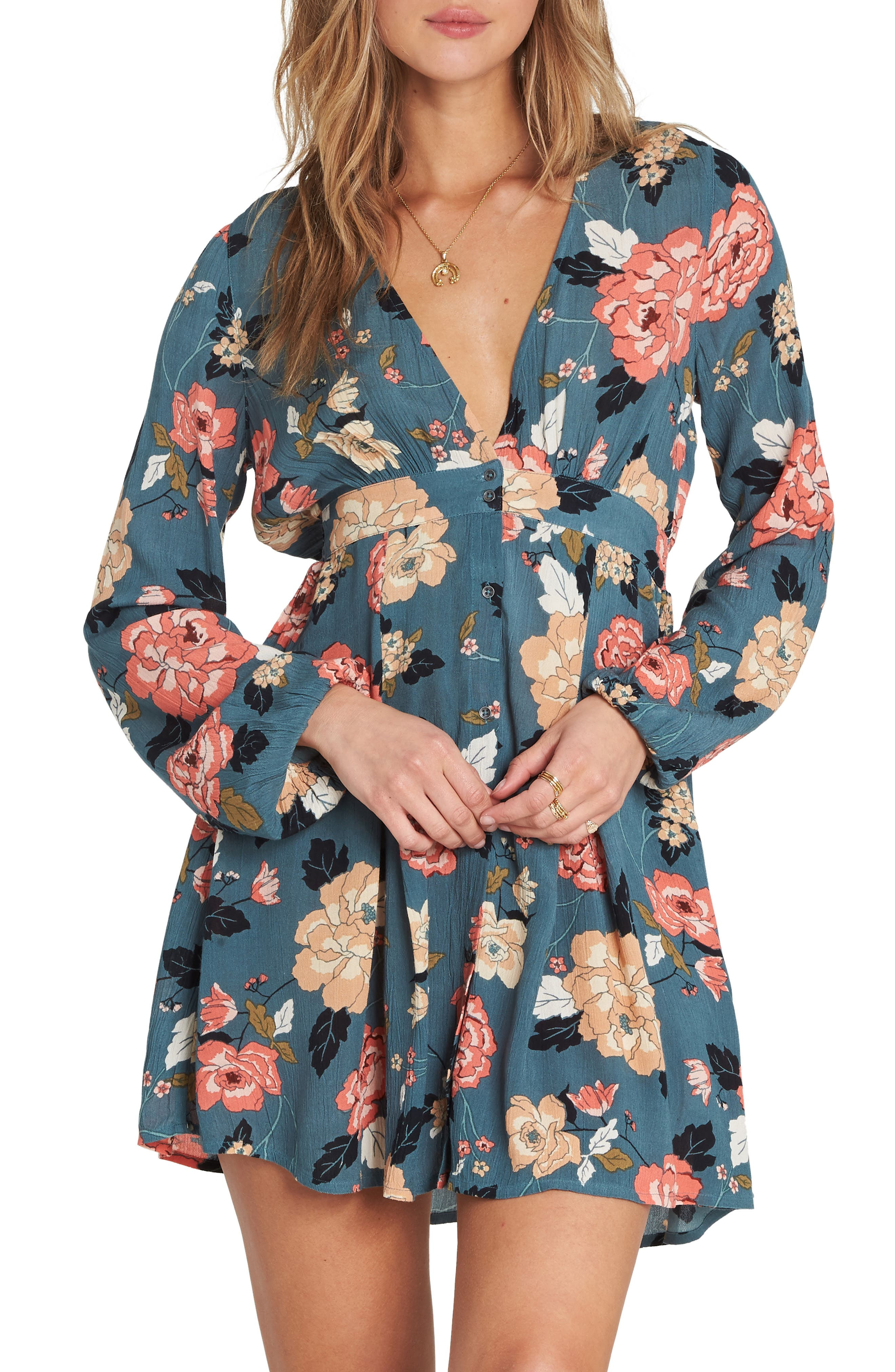 Billabong Your Love Babydoll Dress, Blue