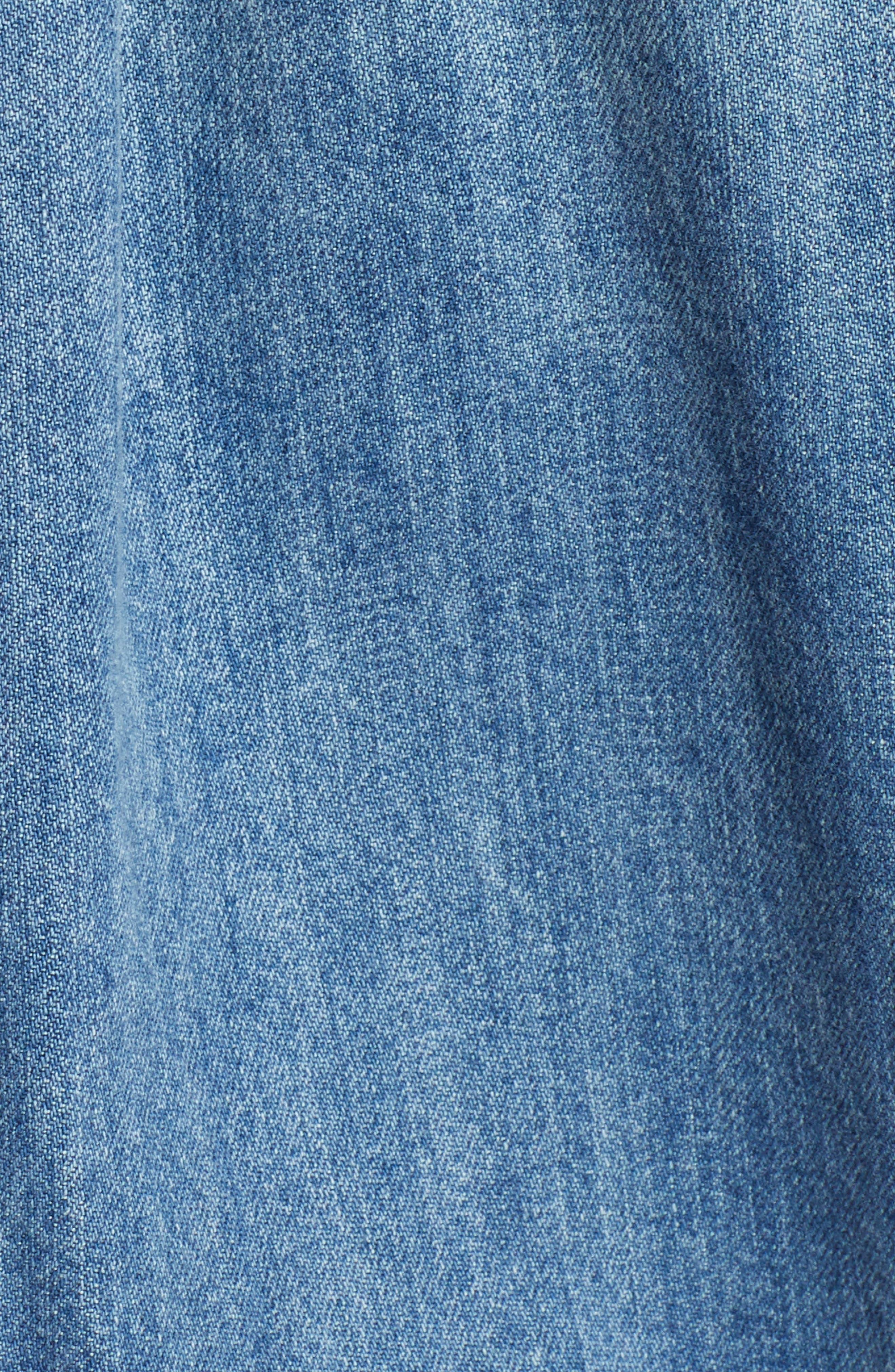 LUCKY BRAND,                             Drawstring Denim Dress,                             Alternate thumbnail 5, color,                             430