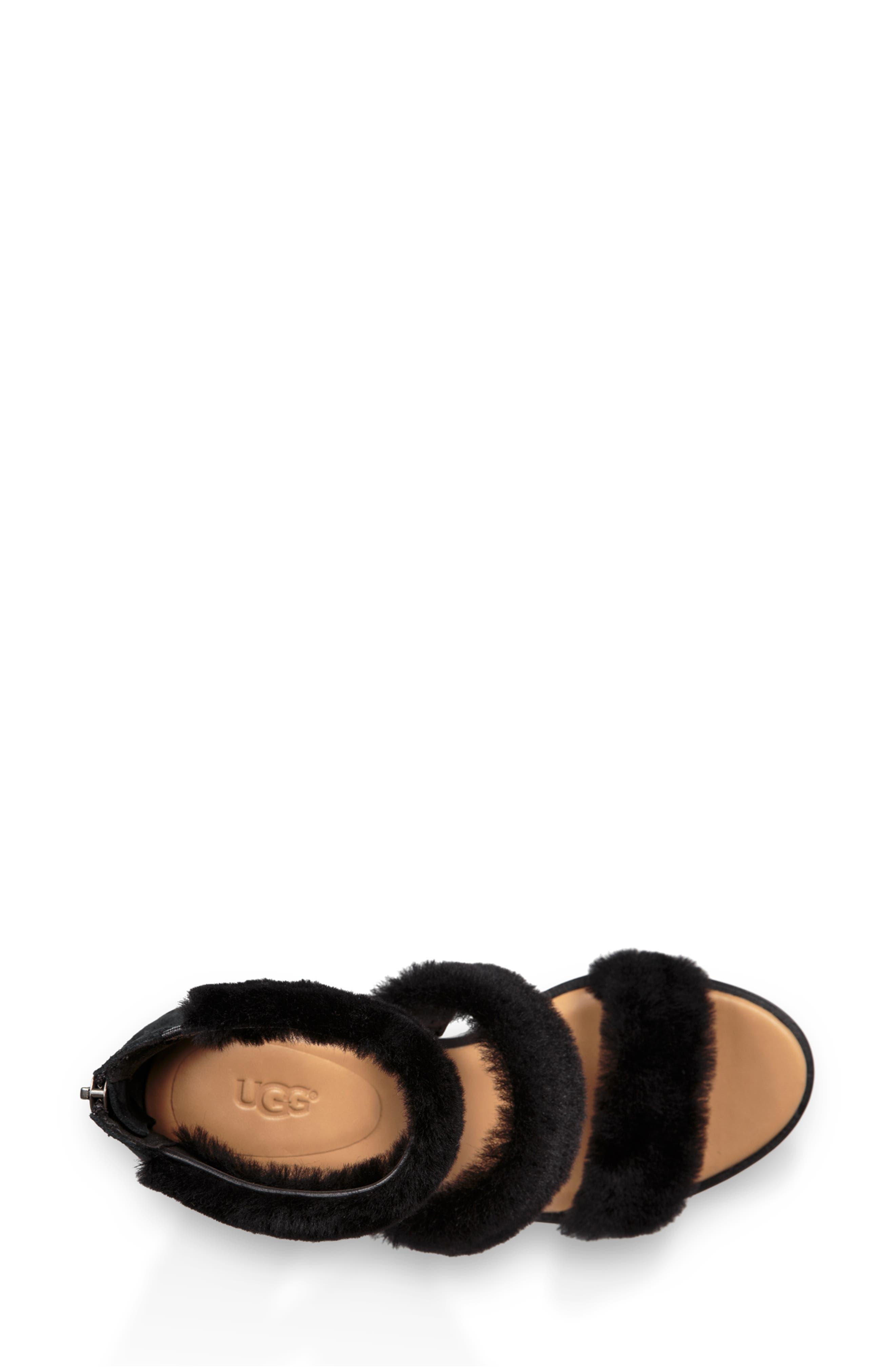 Dey Rey Genuine Shearling Sandal,                             Alternate thumbnail 4, color,                             BLACK