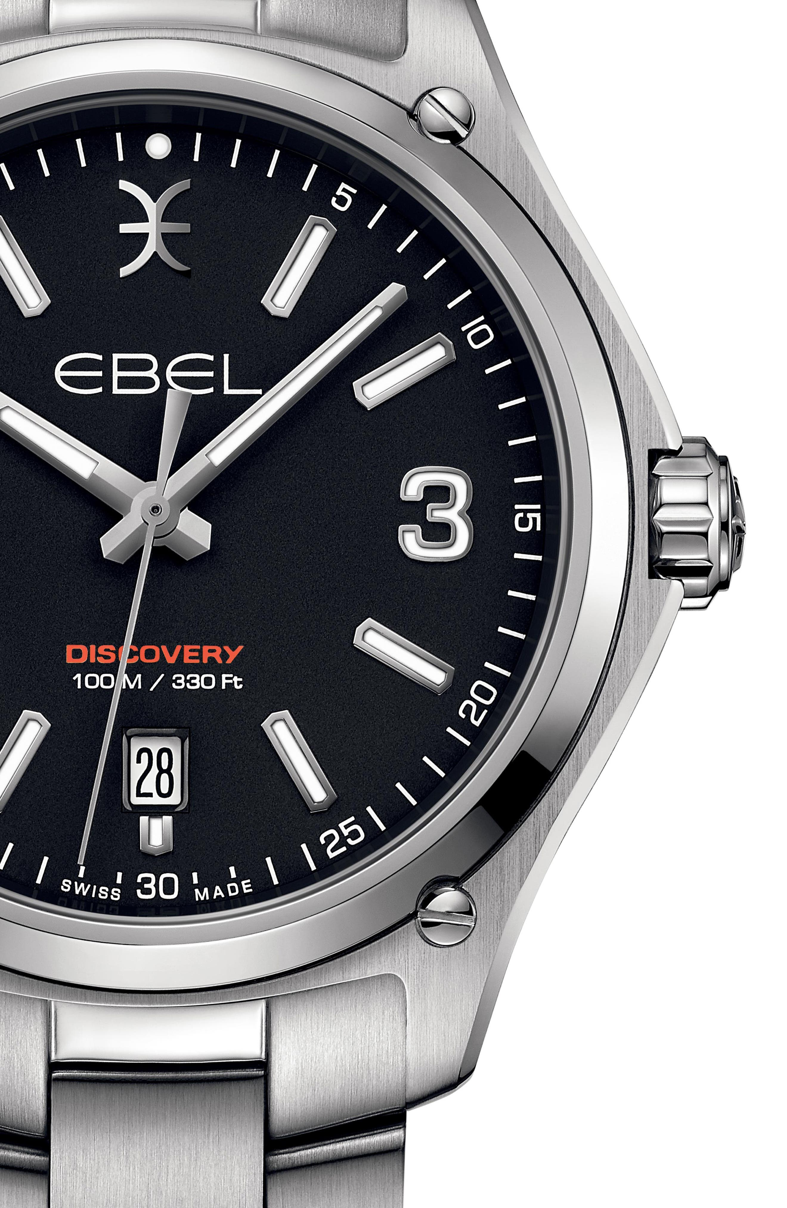 EBEL,                             Discovery Bracelet Watch, 41mm,                             Alternate thumbnail 4, color,                             SILVER/ BLACK/ SILVER