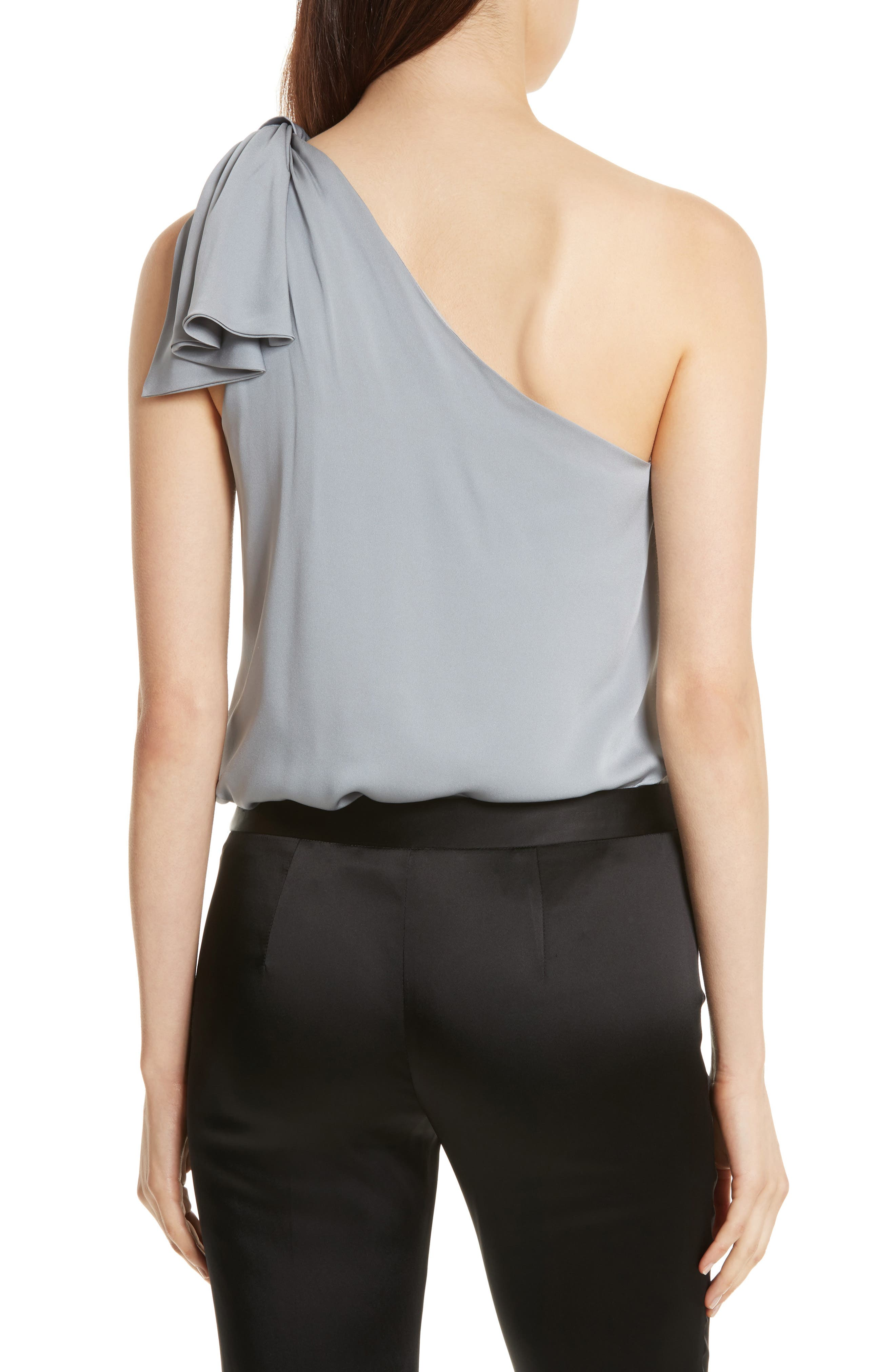 Cindy One-Shoulder Stretch Silk Top,                             Alternate thumbnail 2, color,                             041