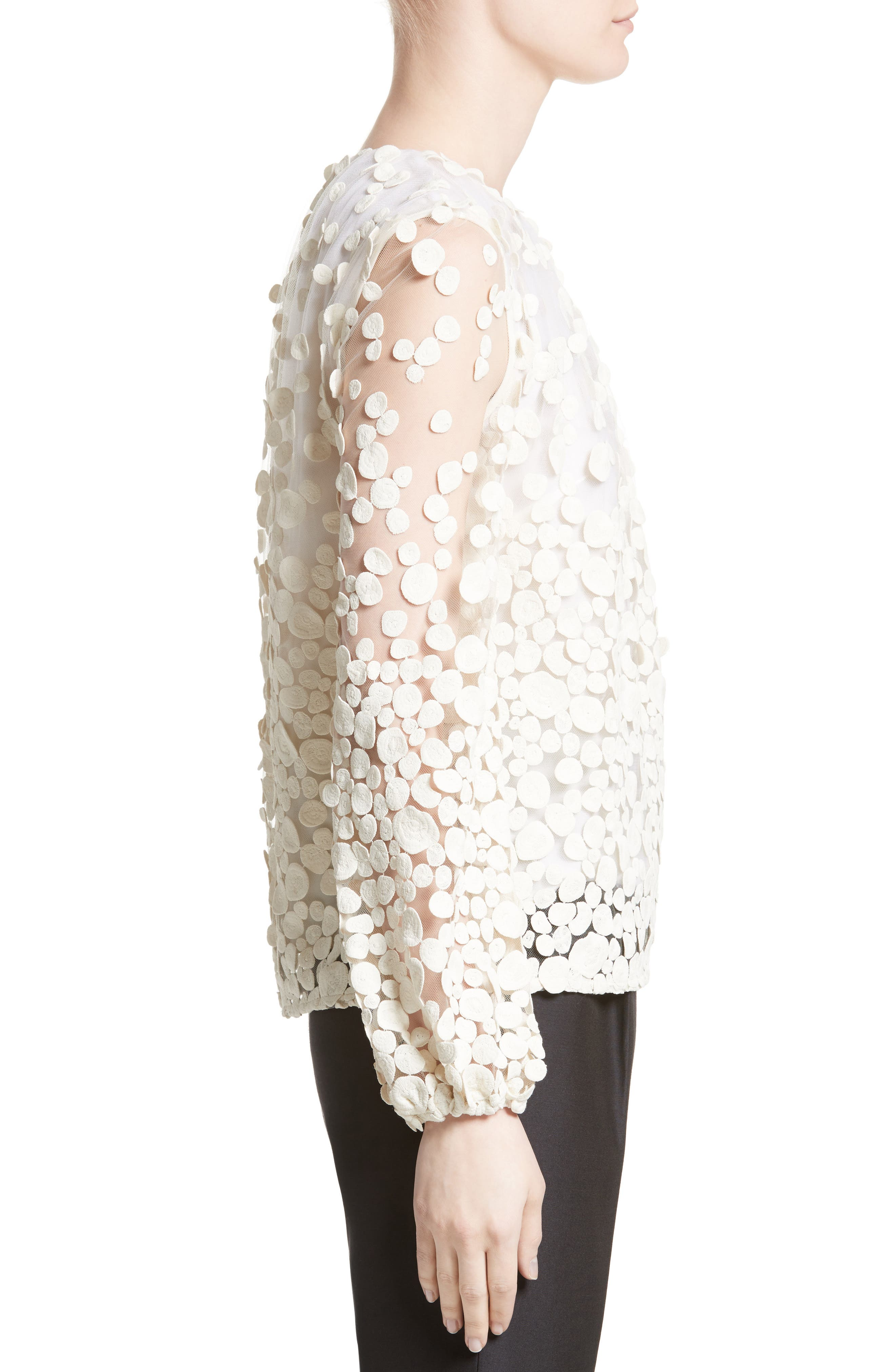 Pebbles Embroidered Mesh Peasant Top,                             Alternate thumbnail 3, color,                             900