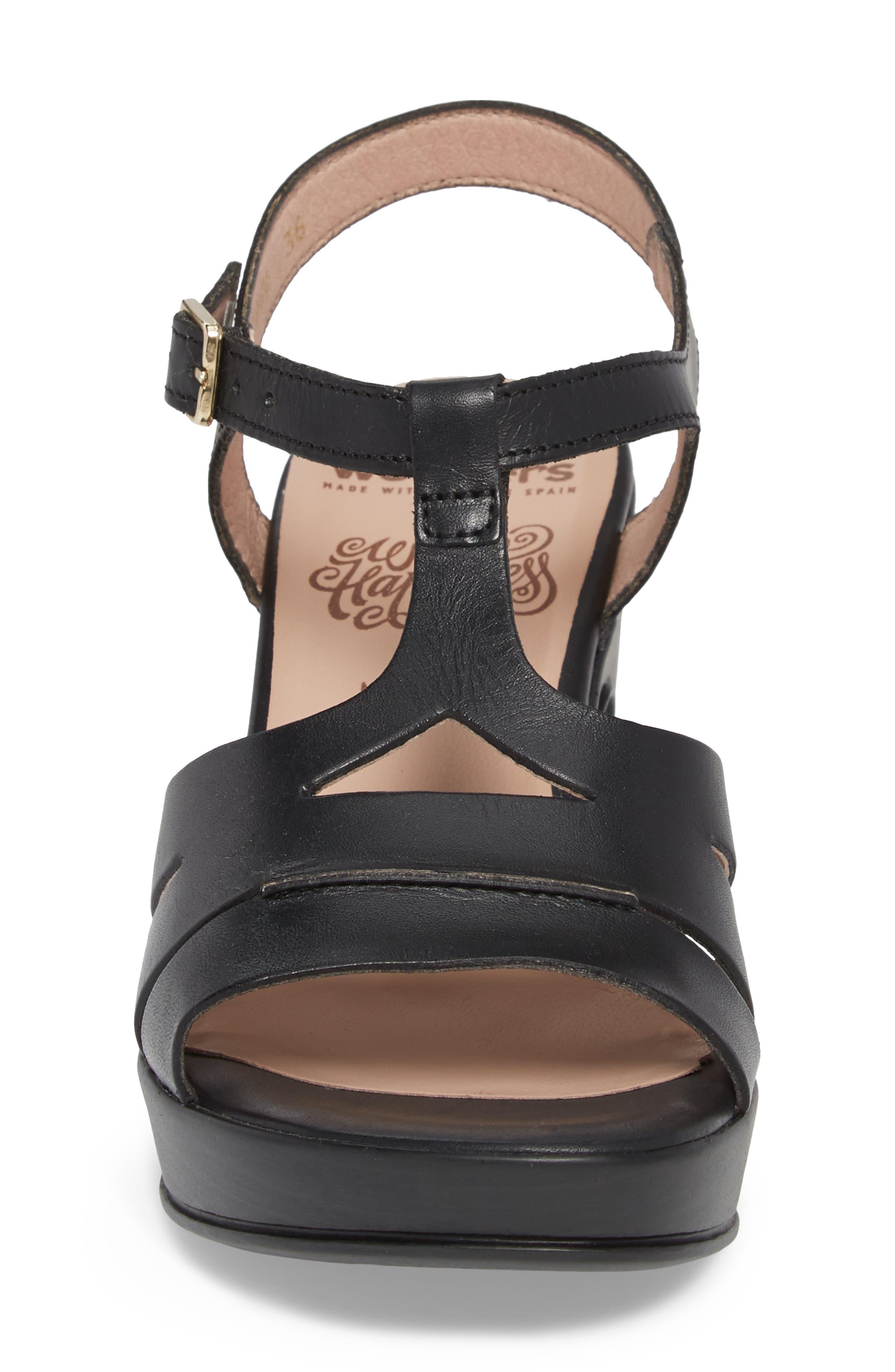 Block Heel Platform Sandal,                             Alternate thumbnail 4, color,                             BLACK LEATHER
