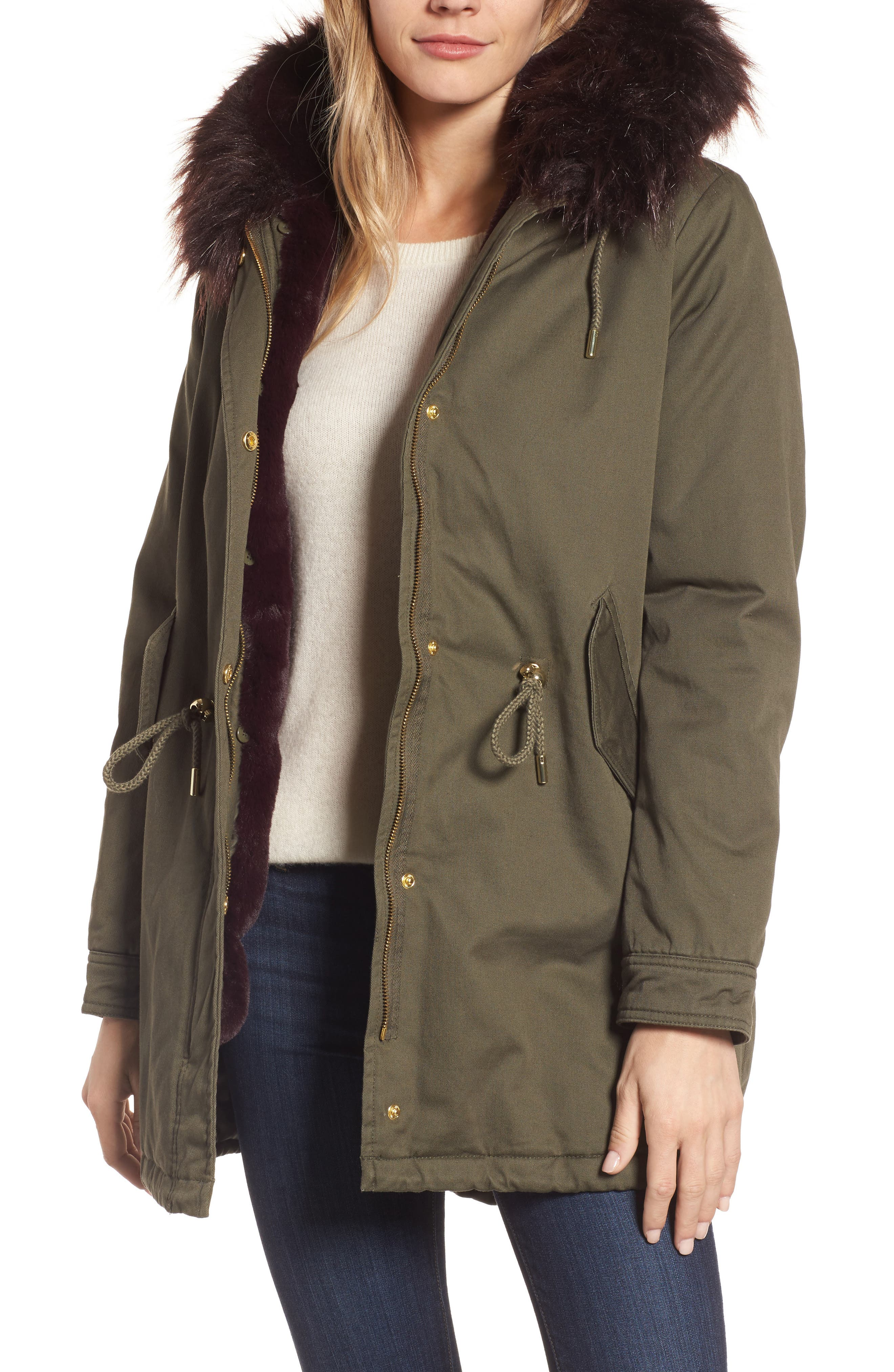 Faux Fur Lined Twill Parka, Main, color, 315