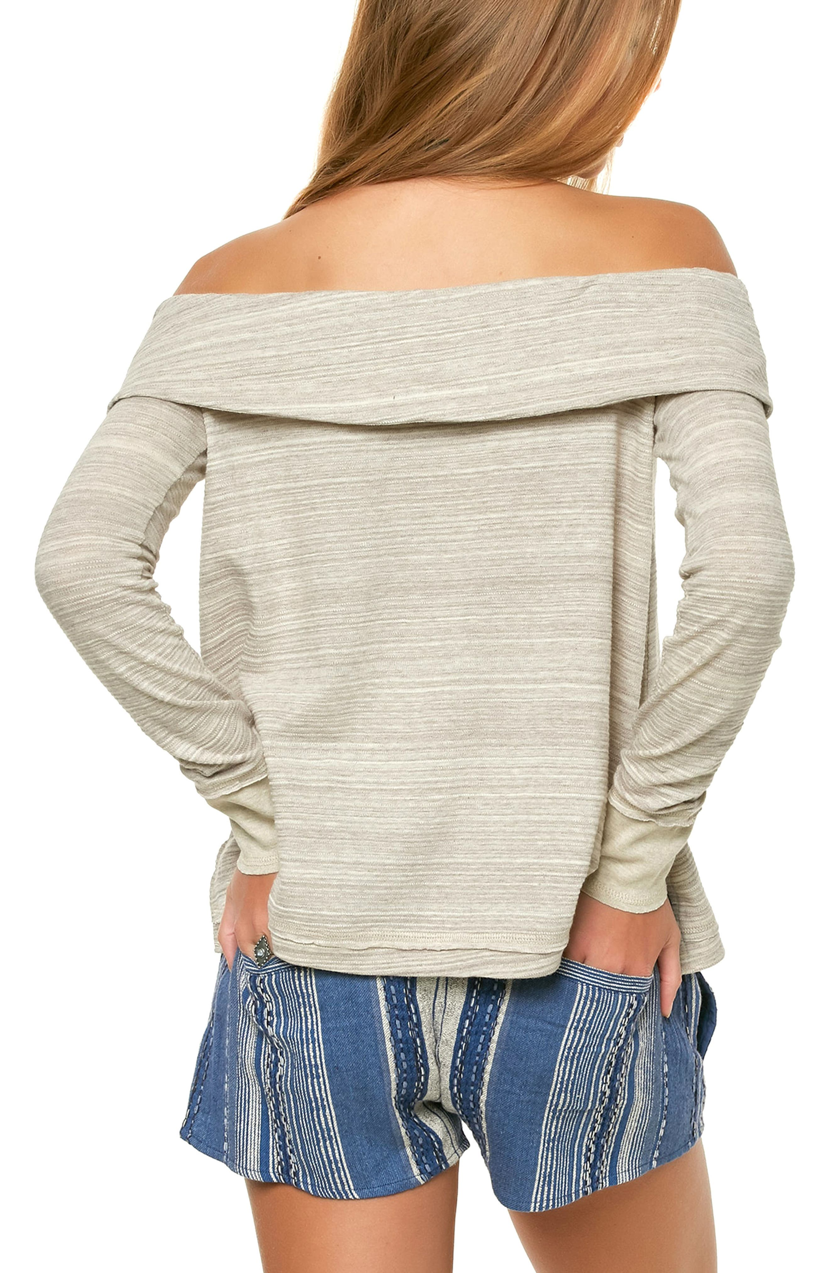 Off the Shoulder Raw Edge Top,                             Alternate thumbnail 2, color,                             100