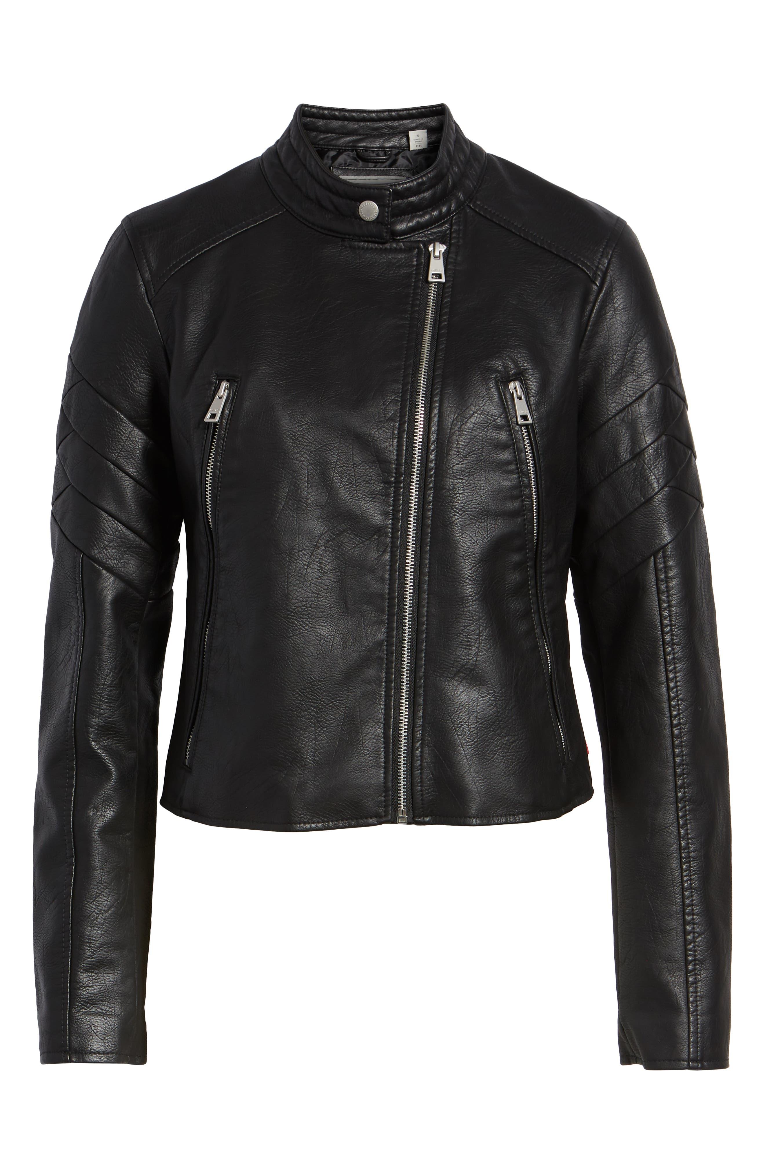 Faux Leather Moto Jacket,                             Alternate thumbnail 6, color,                             BLACK