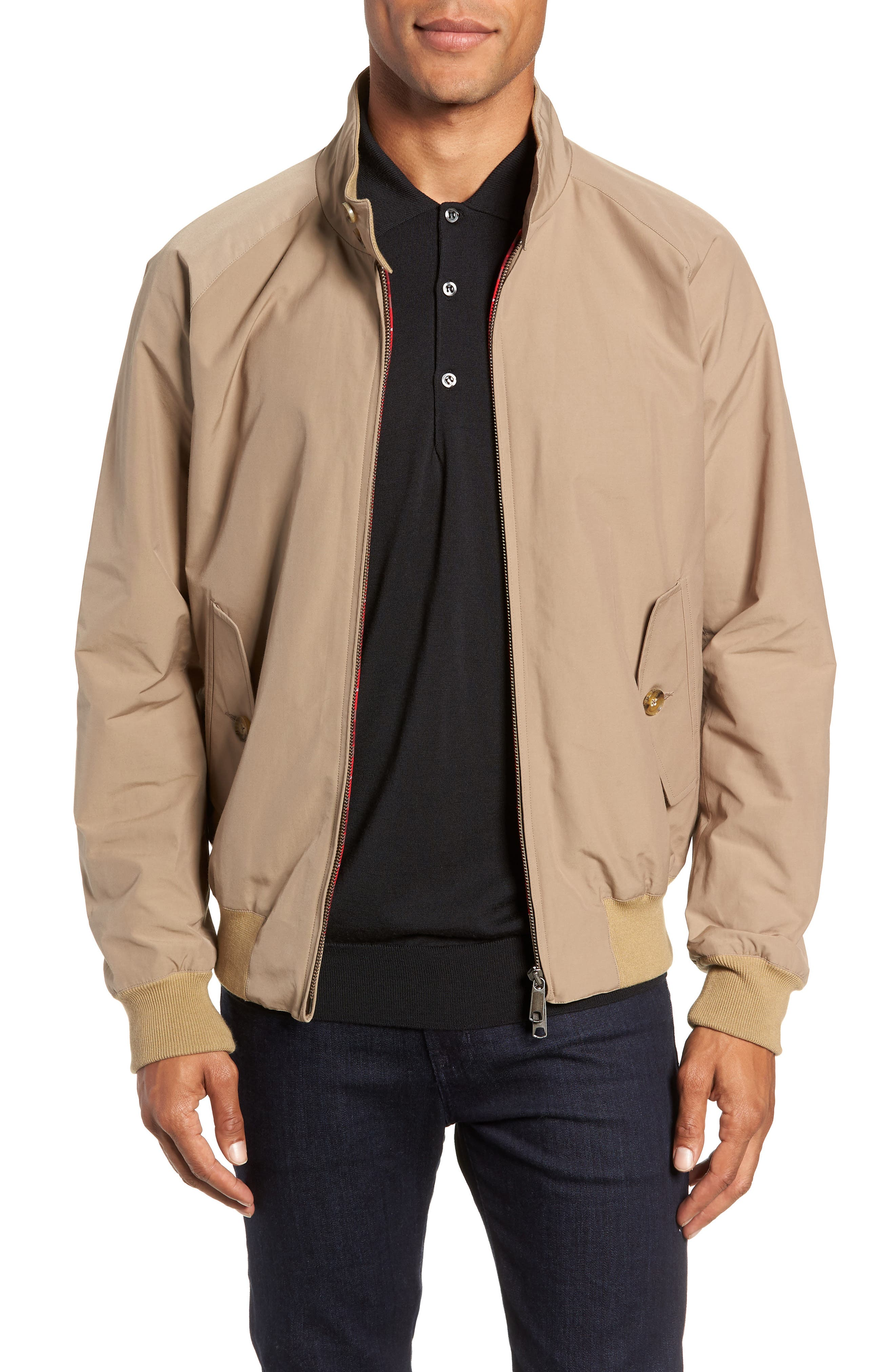 G9 Water Repellent Harrington Jacket,                         Main,                         color, TAN