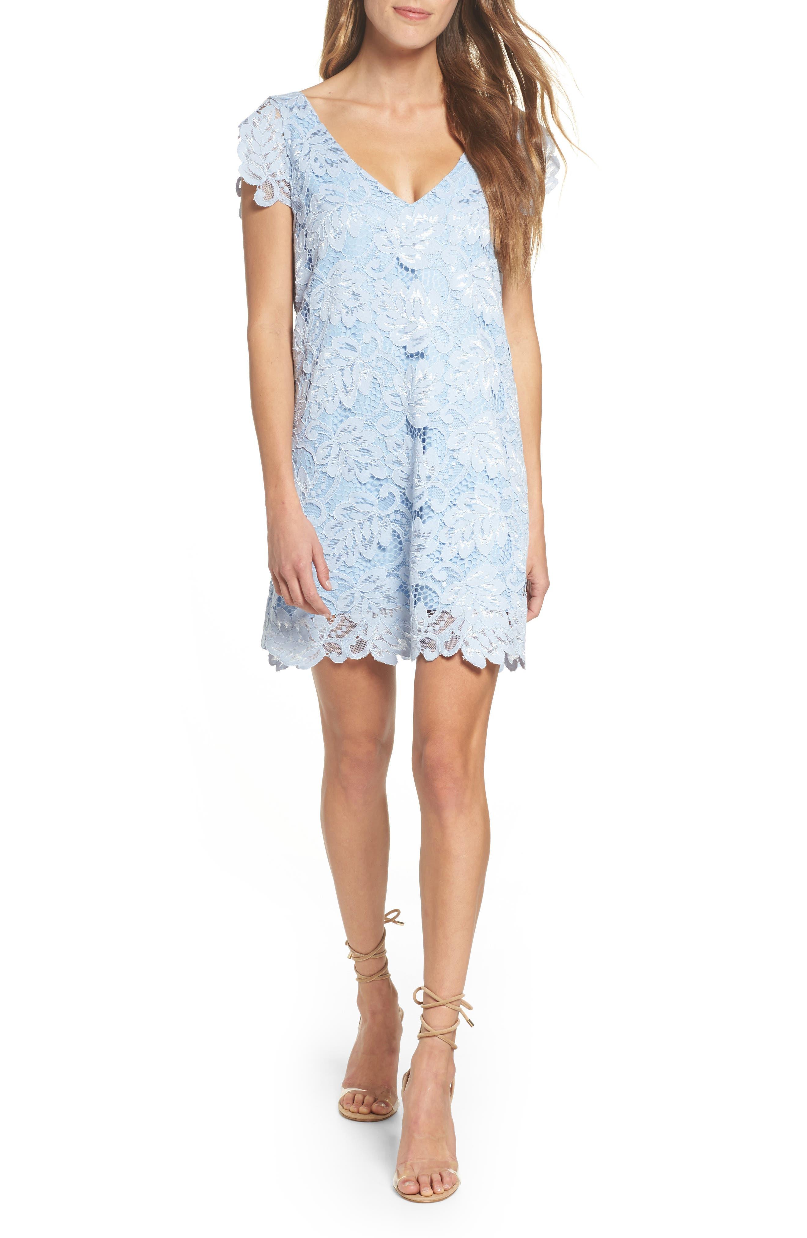 Bb Dakota Jacqueline Lace Shift Dress, Blue