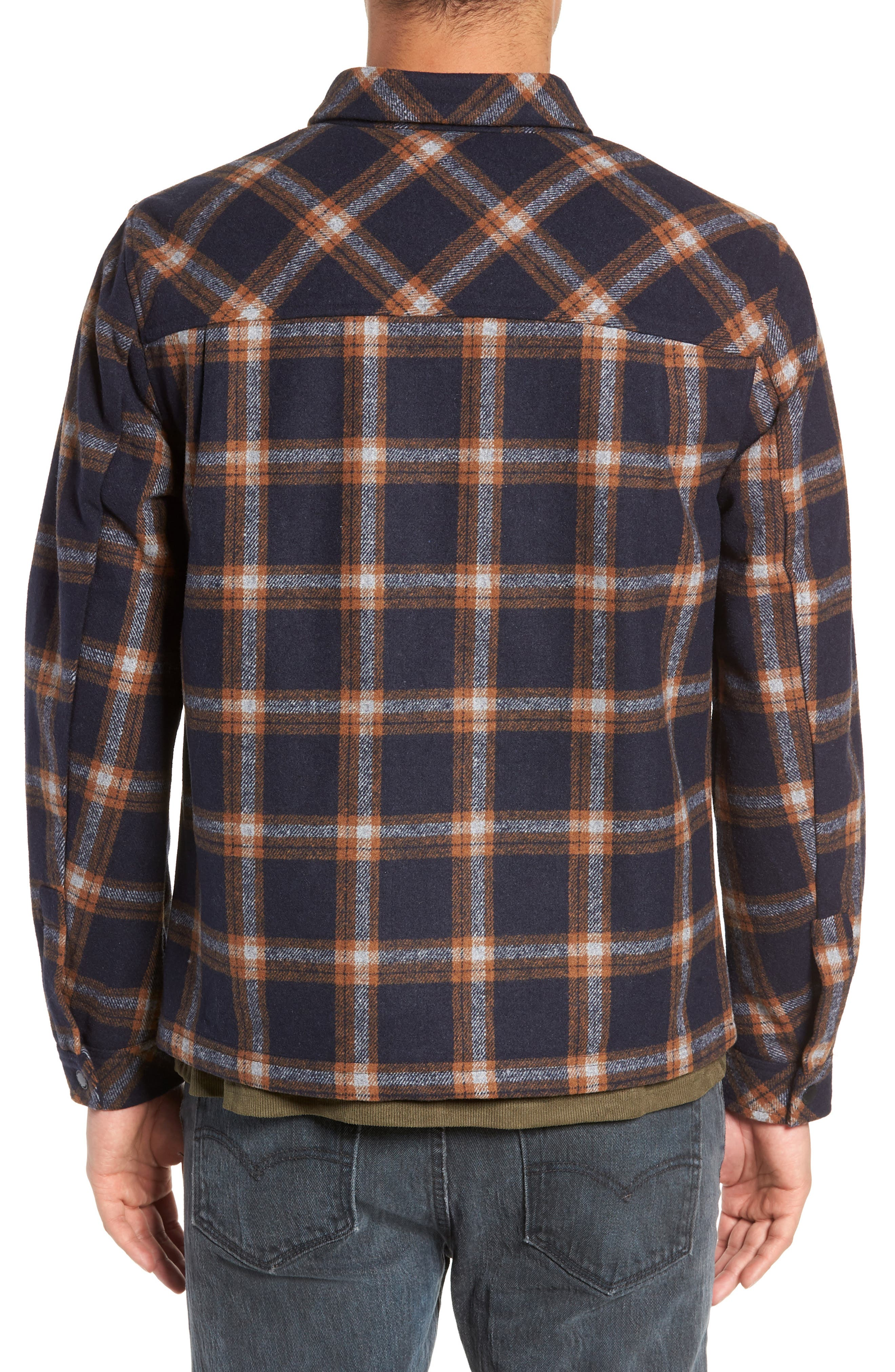 NATIVE YOUTH,                             Check Flannel Shirt,                             Alternate thumbnail 3, color,                             NAVY