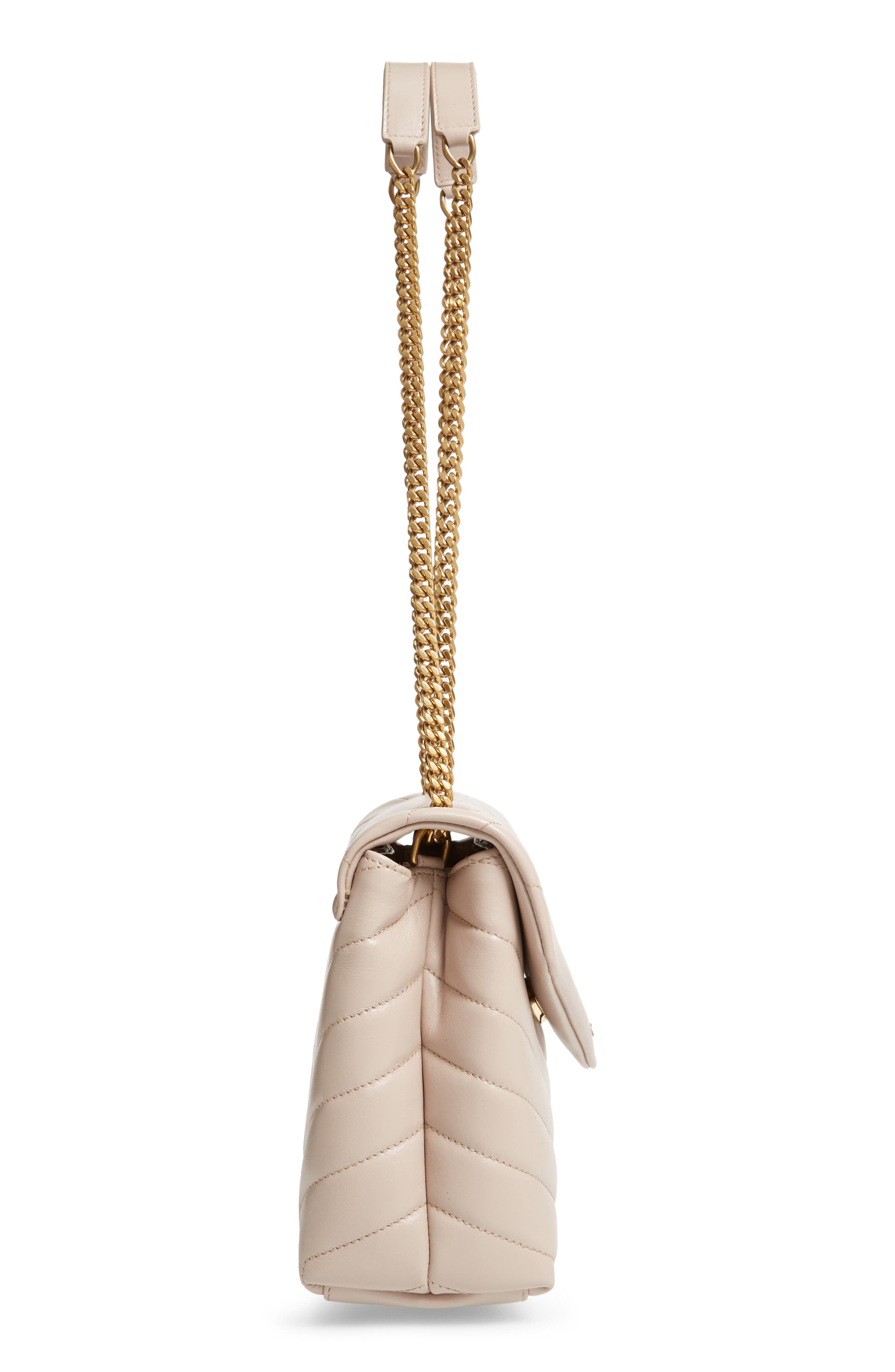 SAINT LAURENT,                             Small Loulou Leather Shoulder Bag,                             Alternate thumbnail 5, color,                             LIGHT NATURAL