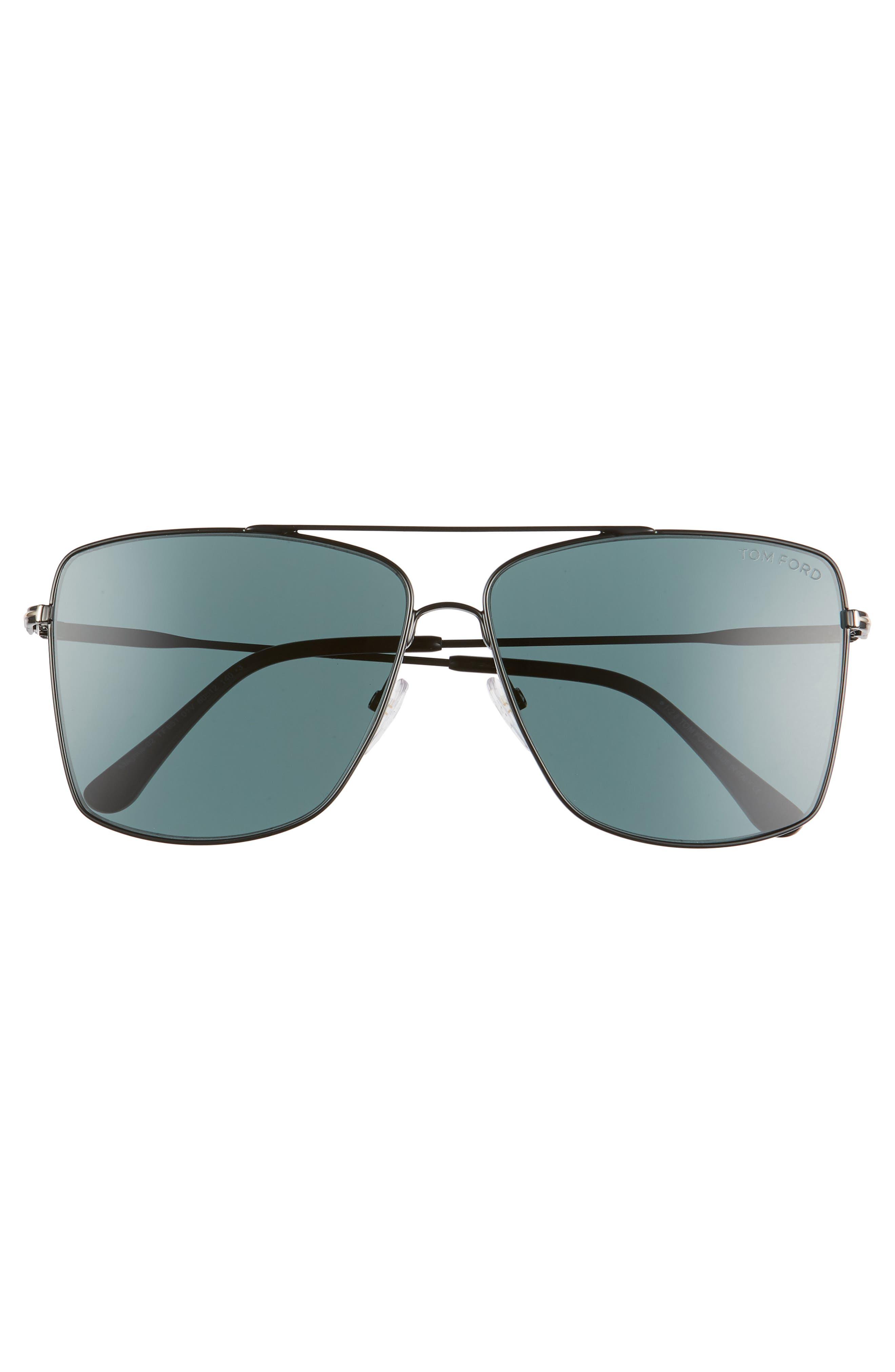 Magnus 60mm Aviator Sunglasses,                             Alternate thumbnail 3, color,                             SHINY BLACK/ DARK TEAL