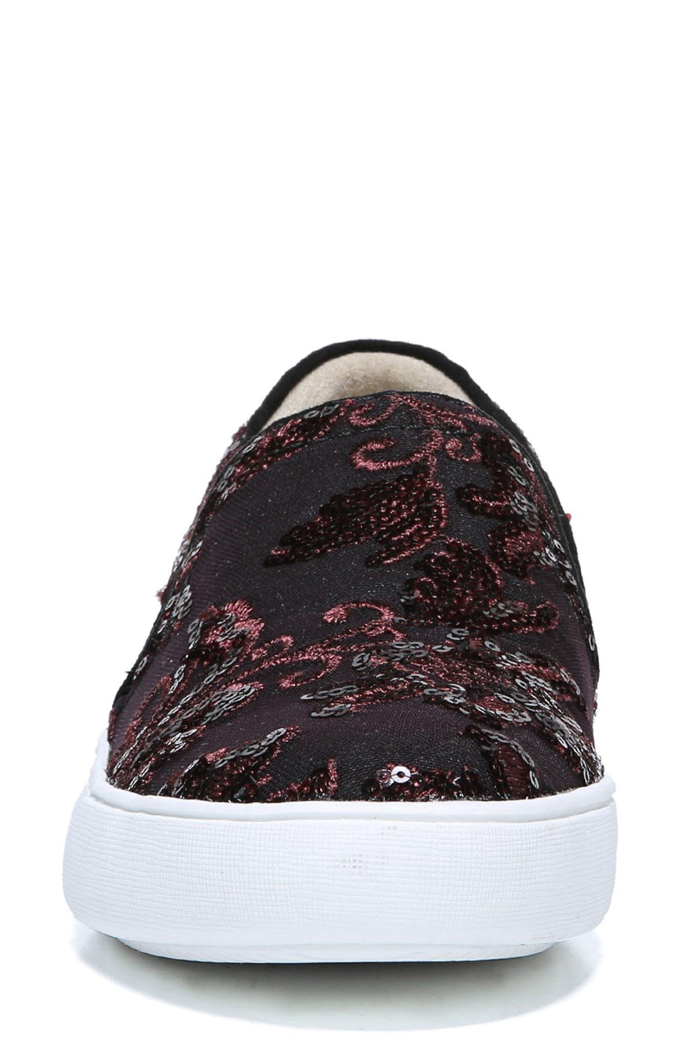 Marianne Slip-On Sneaker,                             Alternate thumbnail 4, color,                             BURGUNDY EMBROIDERED