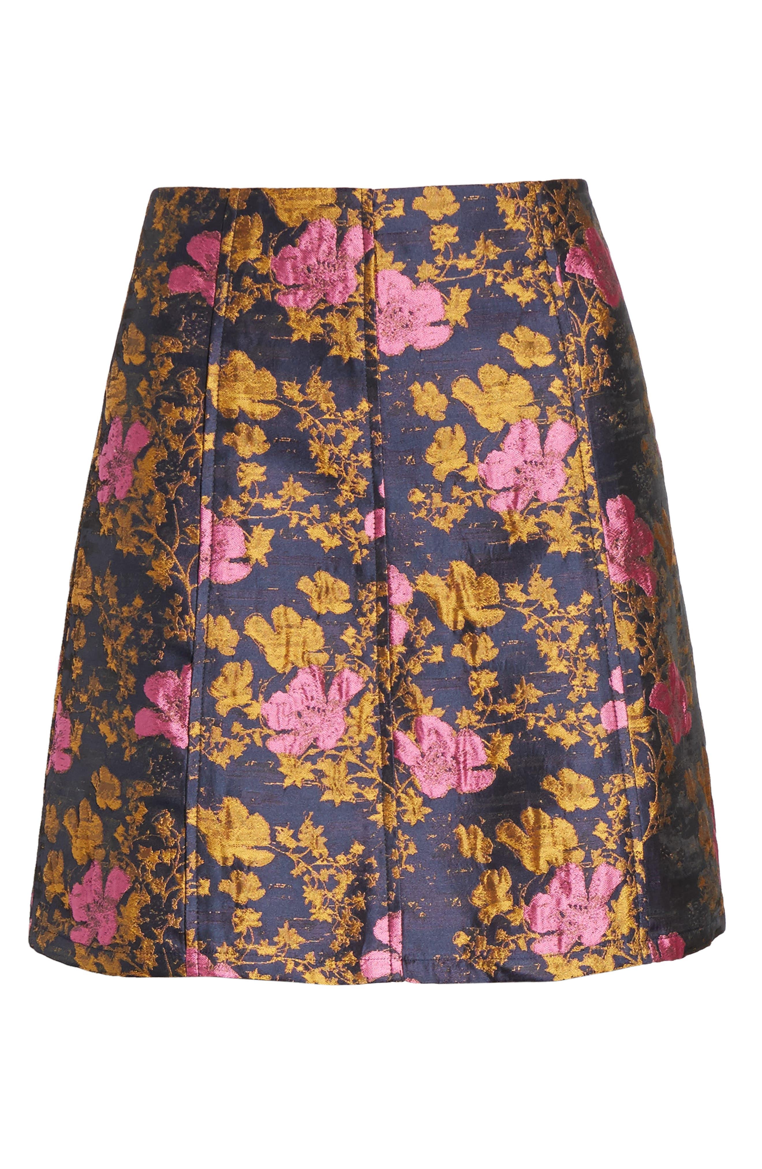 High Waist Floral Print Miniskirt,                             Alternate thumbnail 6, color,